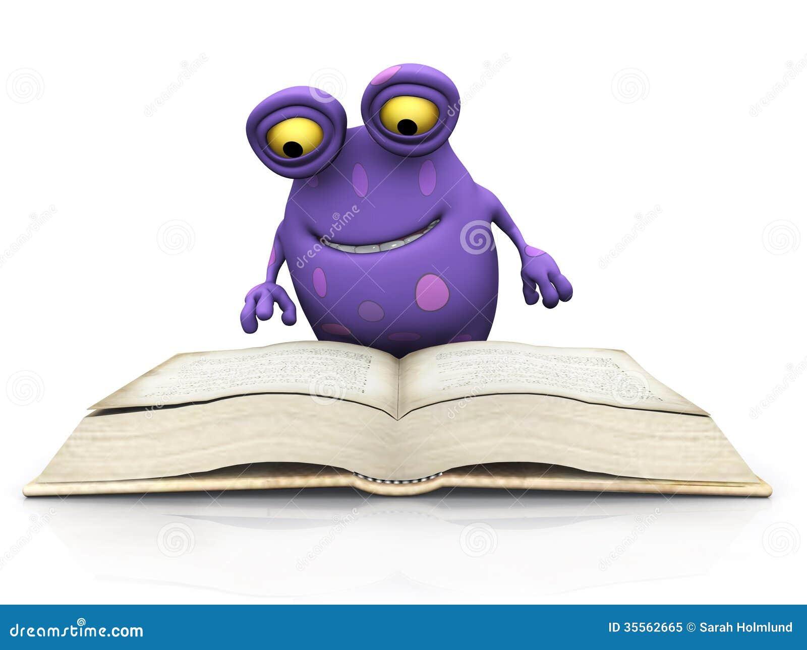 Un monstruo manchado que lee un libro grande foto de for Con que se limpia el marmol manchado
