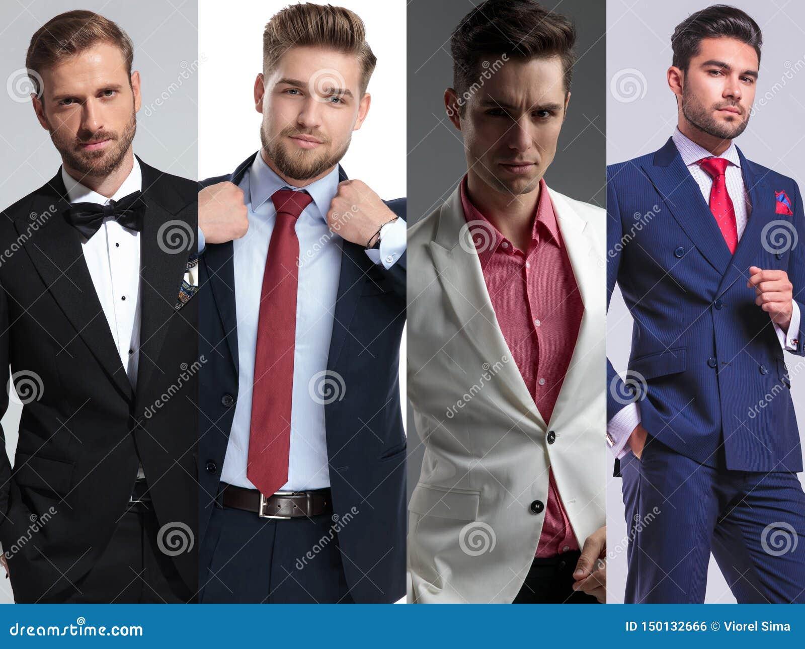 Un montaggio di immagine posa bella di quattro di giovane uomini