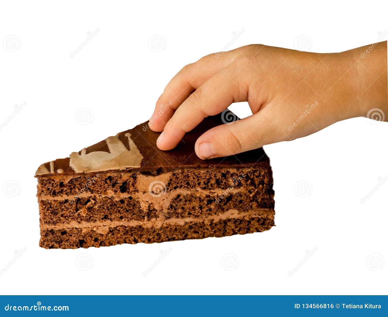 Un morceau de gâteau et d une main