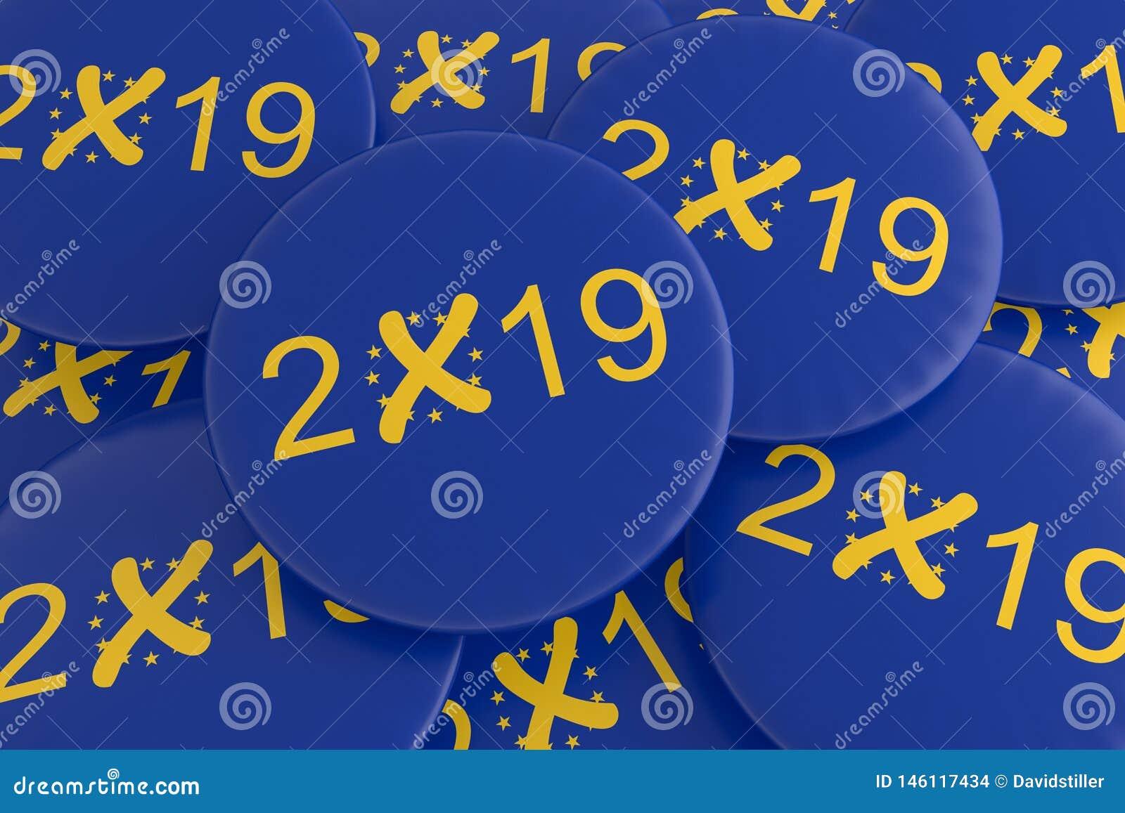 Un mucchio dei bottoni 2019 di elezione europea di E. -, illustrazione 3d
