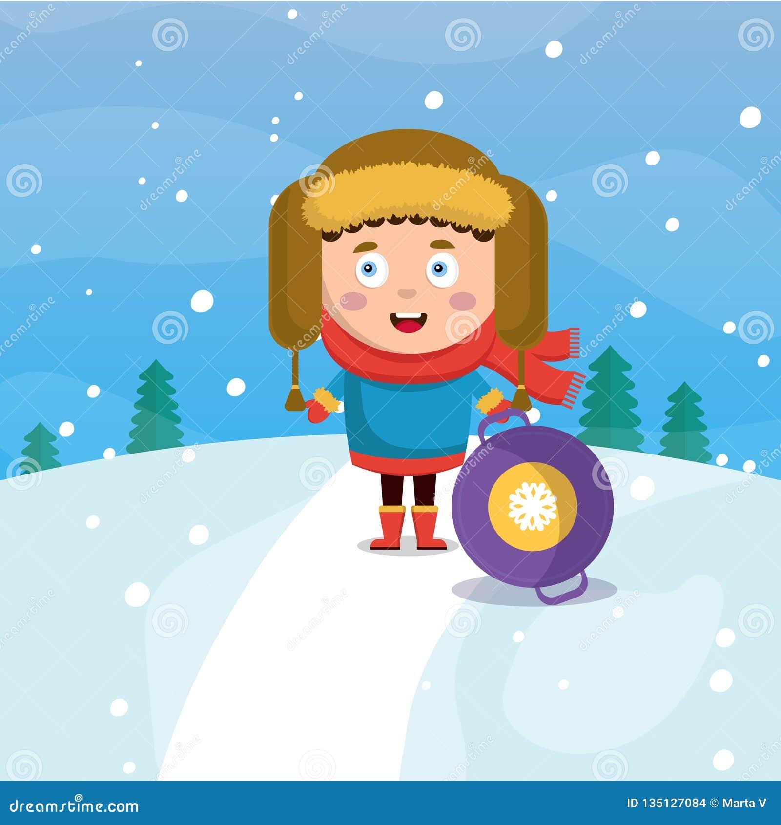 Un niño pequeño en invierno está rodando abajo una colina en nevar del bosque Ejemplo plano del estilo de la historieta del vecto