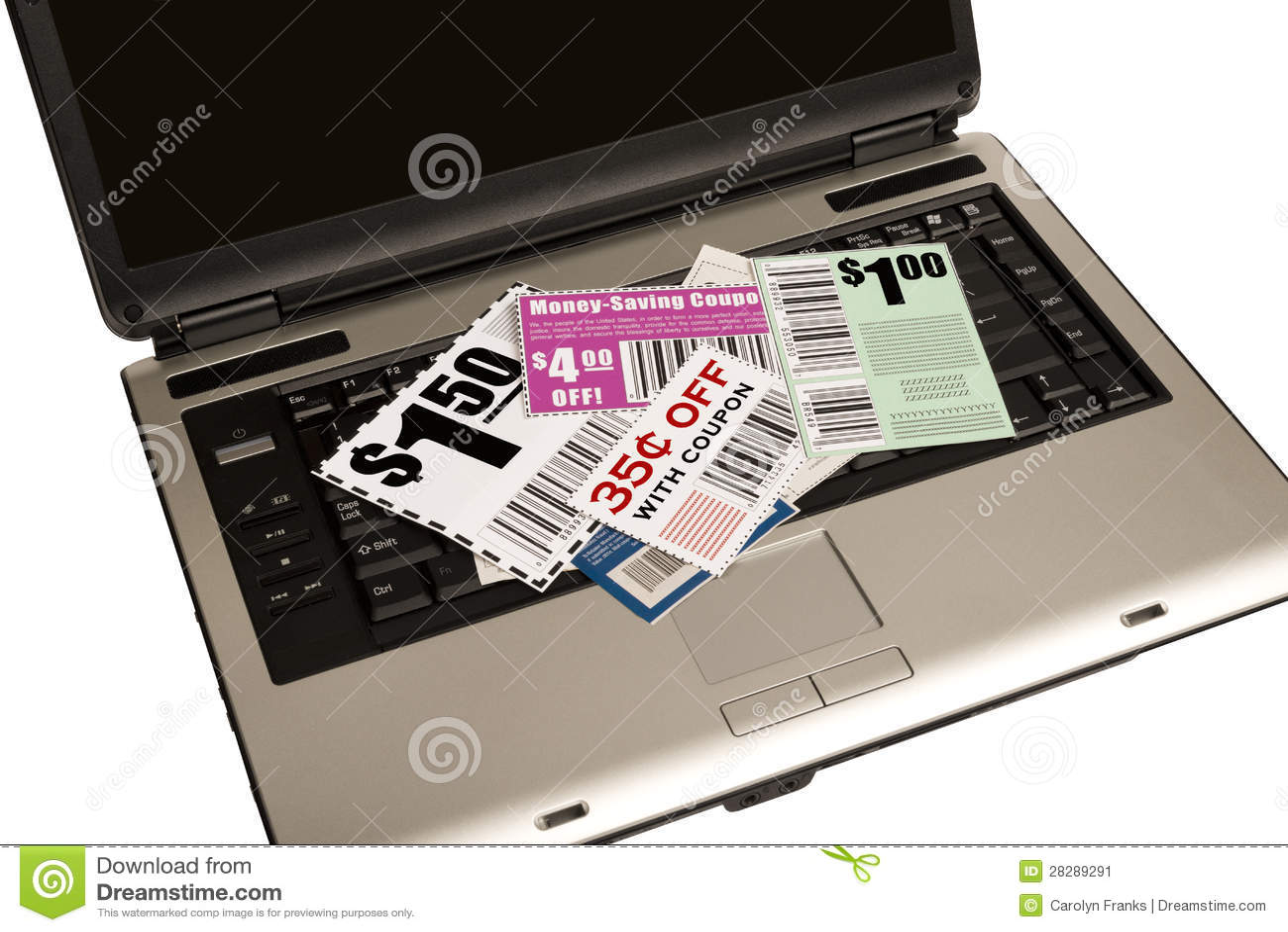 Un ordinateur portable avec des bons représente les bons en ligne XXXL