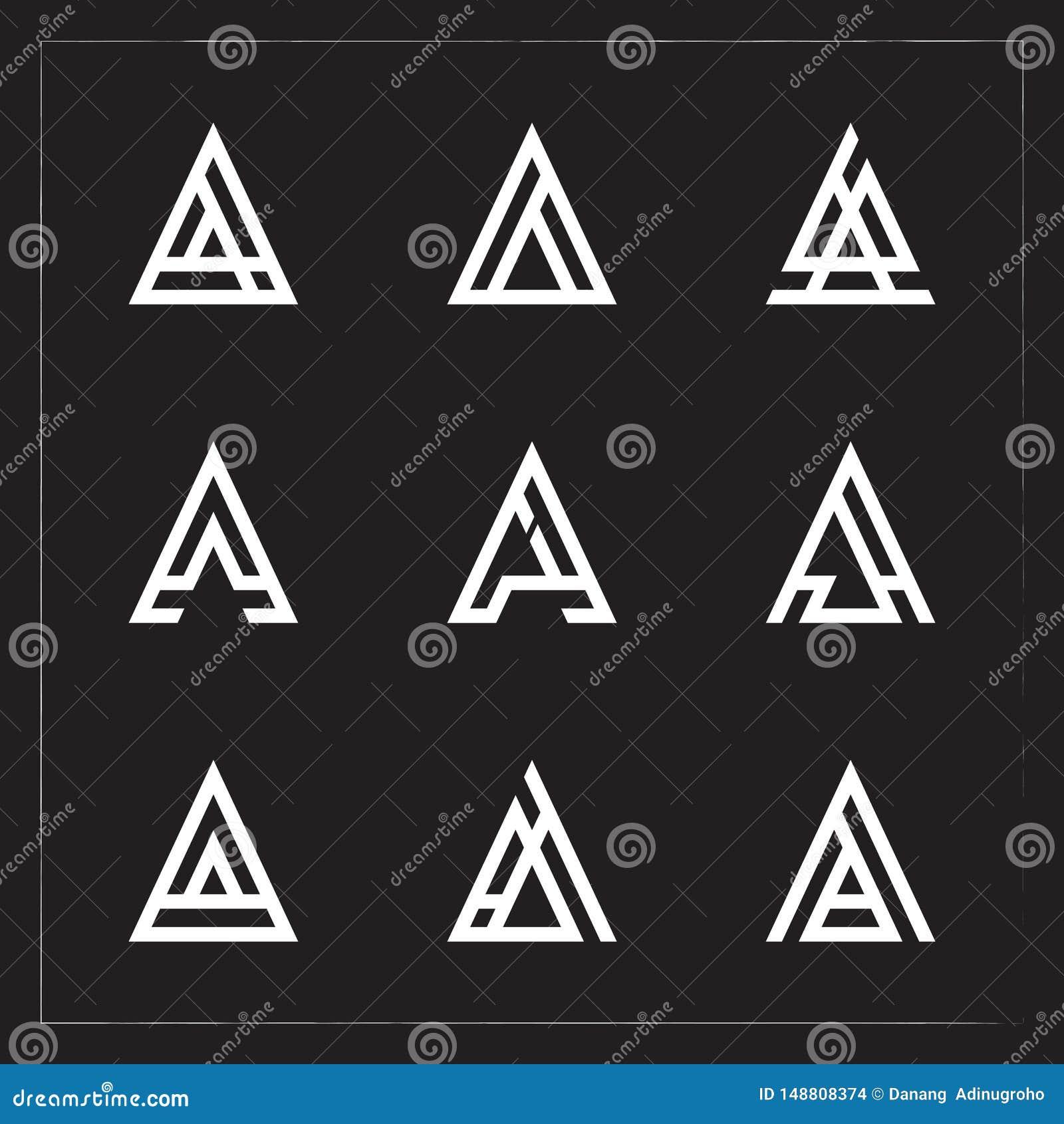 Un paquete del logotipo de la letra del triángulo