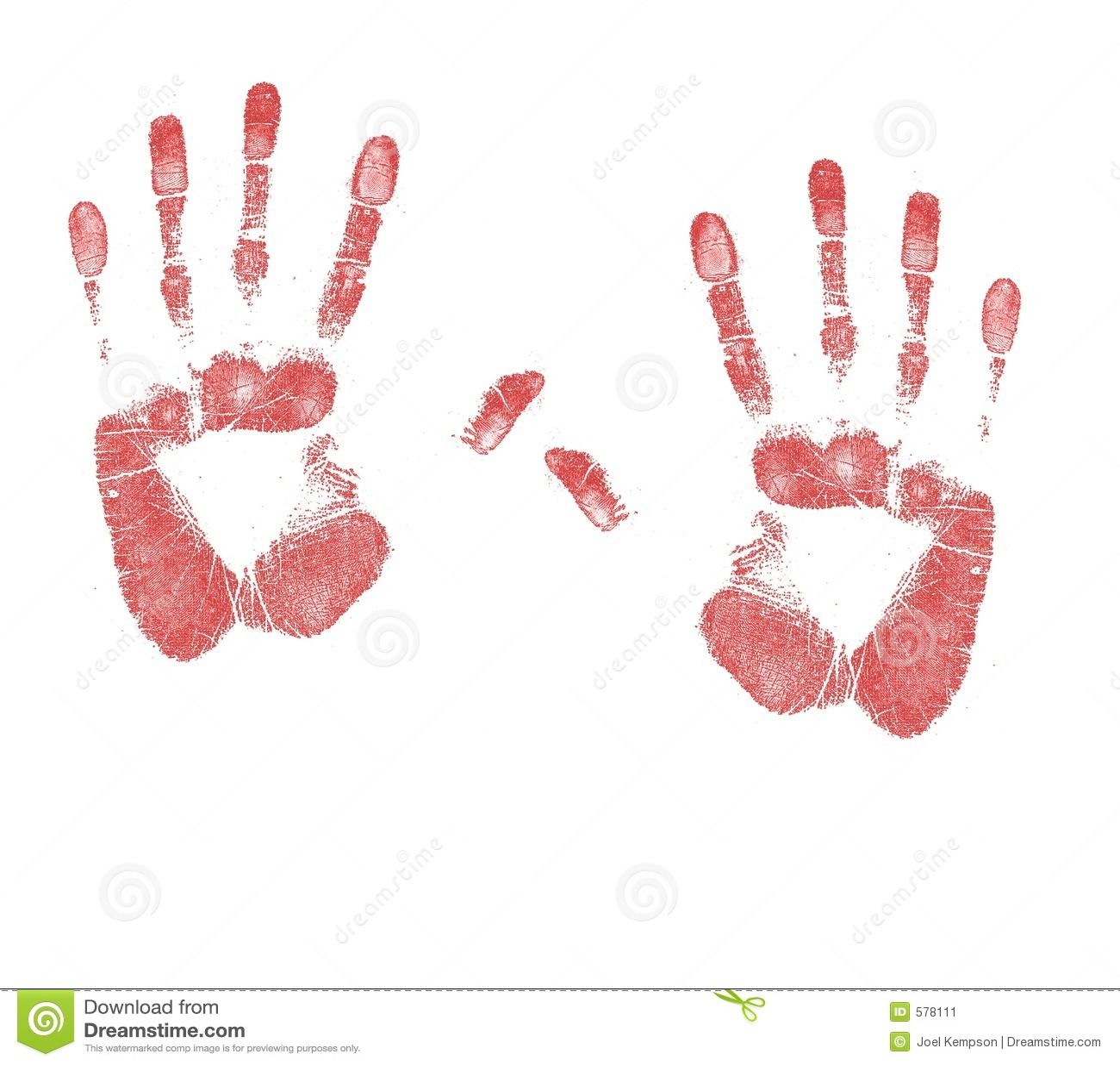 Un par de sangre manchó impresiones de la mano