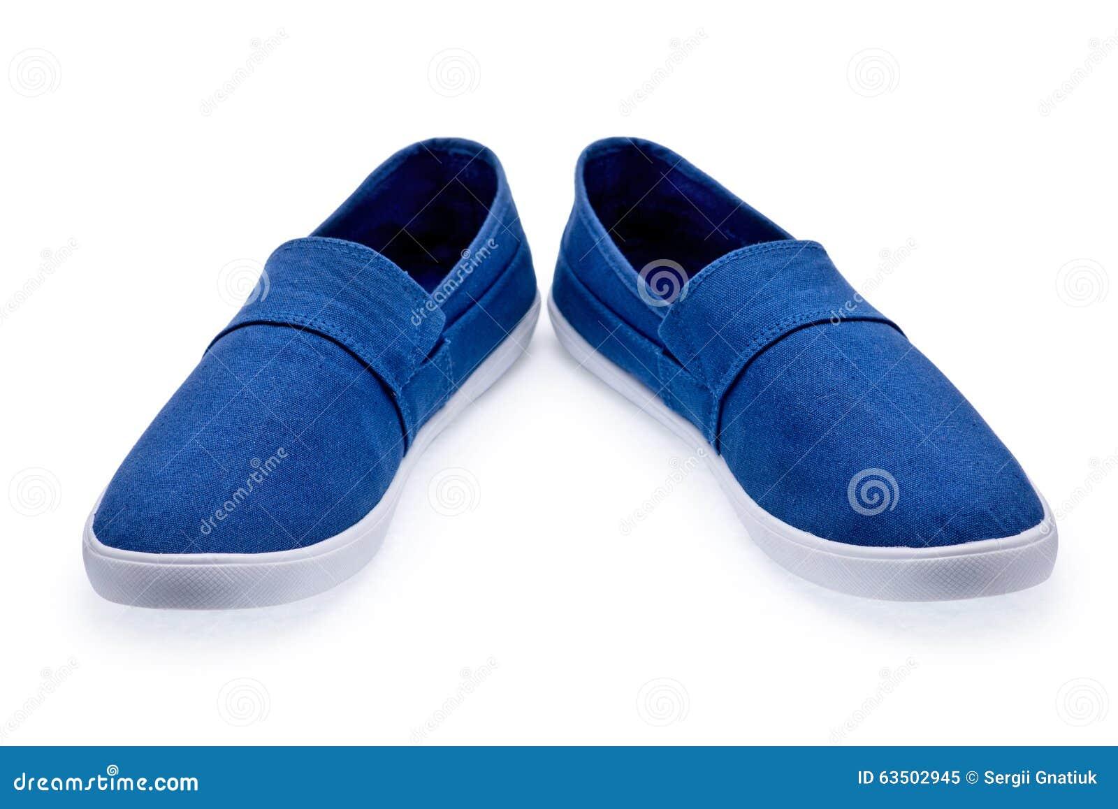 bajo precio 10582 e491d Un Par De Zapatos Tenis Azules Sin Los Cordones Imagen de ...