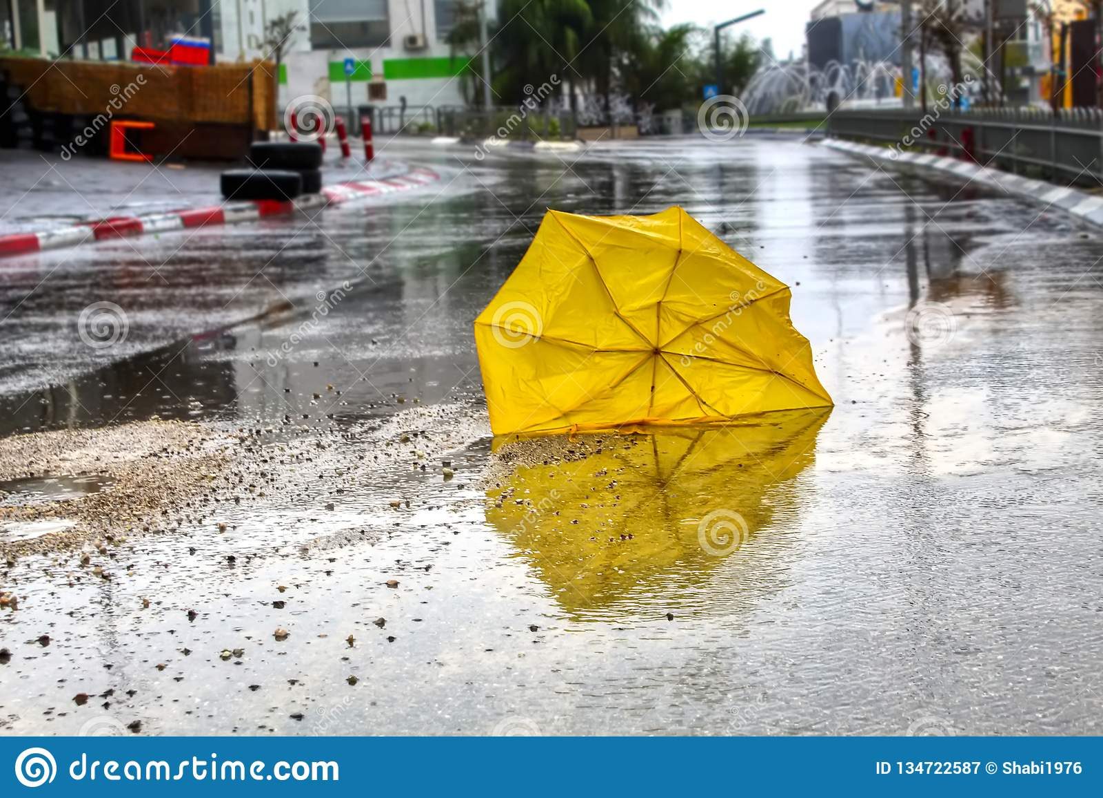 Un paraguas roto por el viento con las gotas de agua en la carretera de asfalto mojada Tiempo del invierno en Israel: lluvia, cha