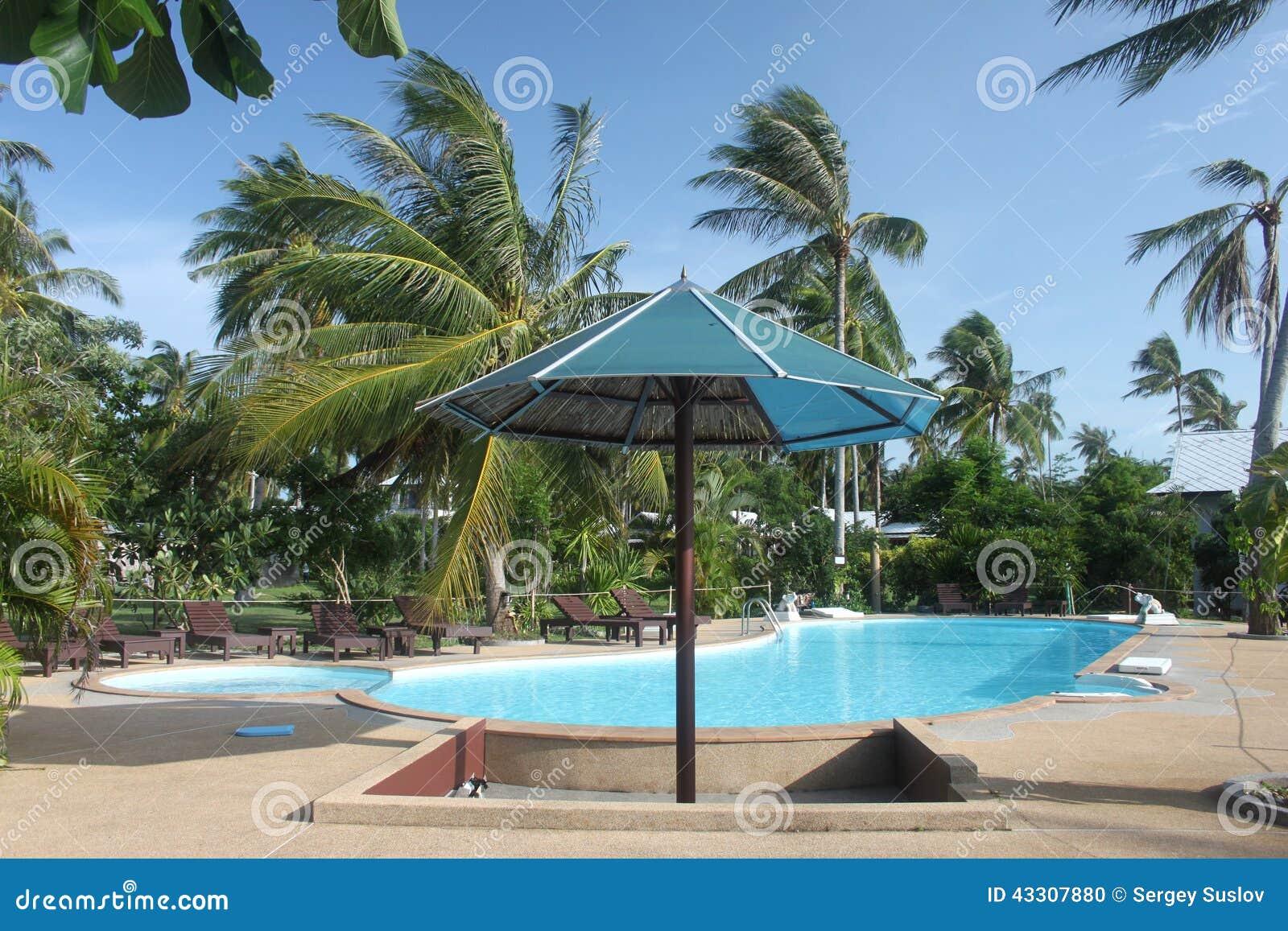 Un parasol avec la piscine avec les pamls clairs de l 39 eau for Piscine ile bleue seynod