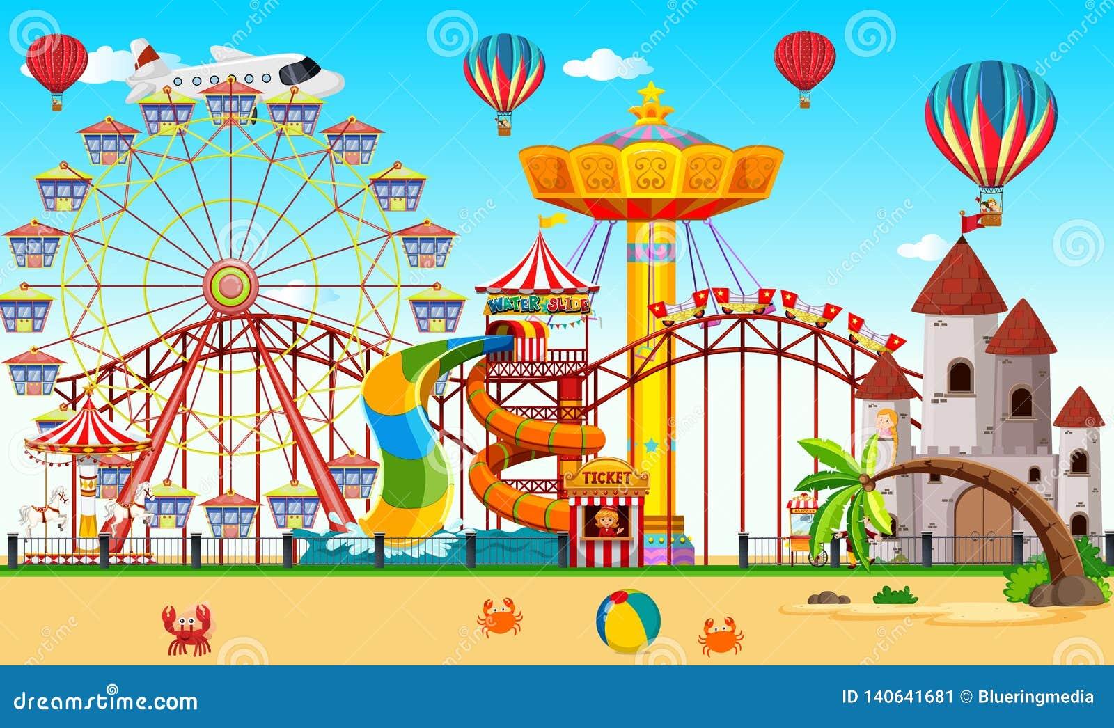 Un parco di divertimenti accanto alla spiaggia