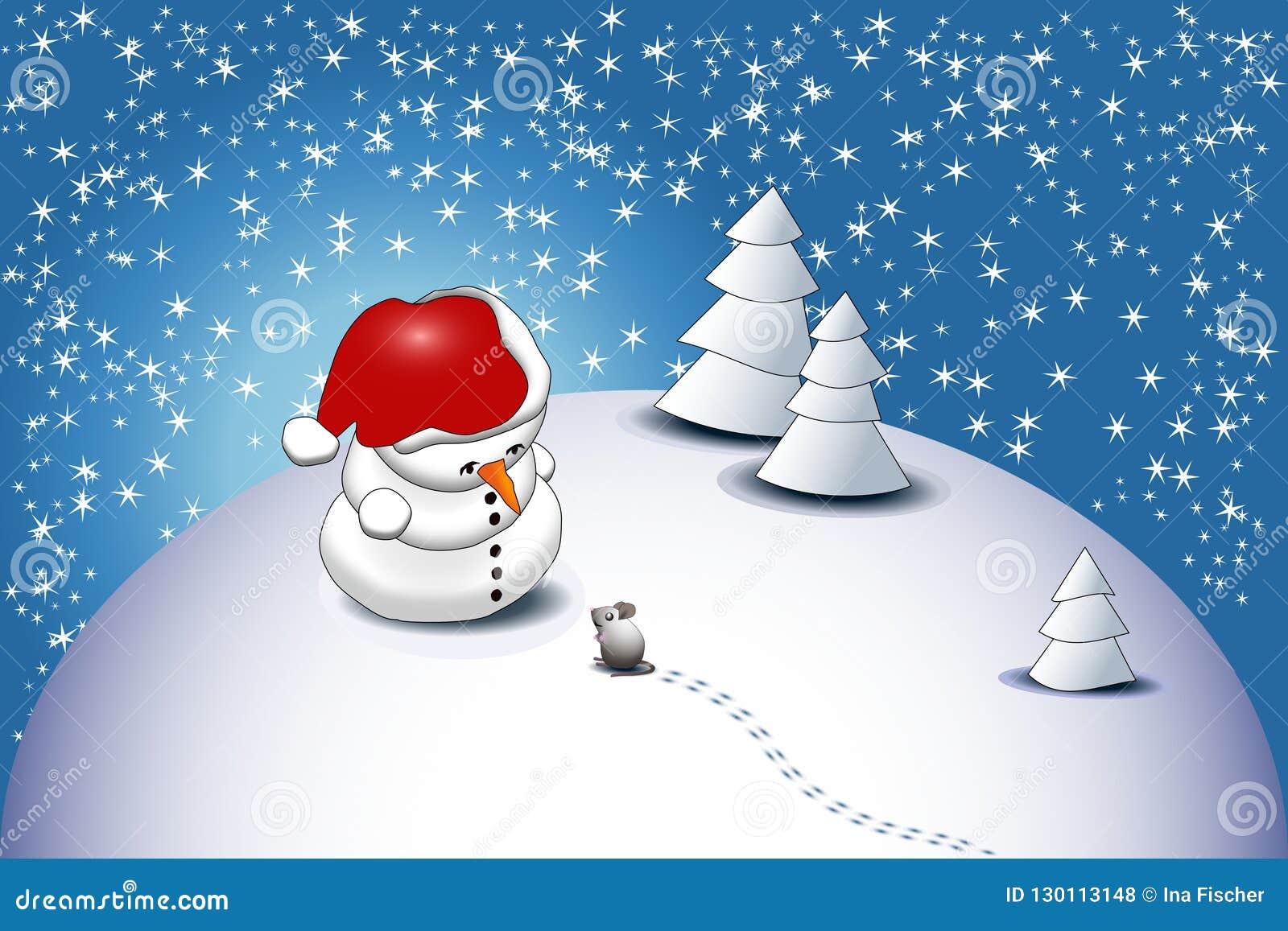 Un pequeño muñeco de nieve