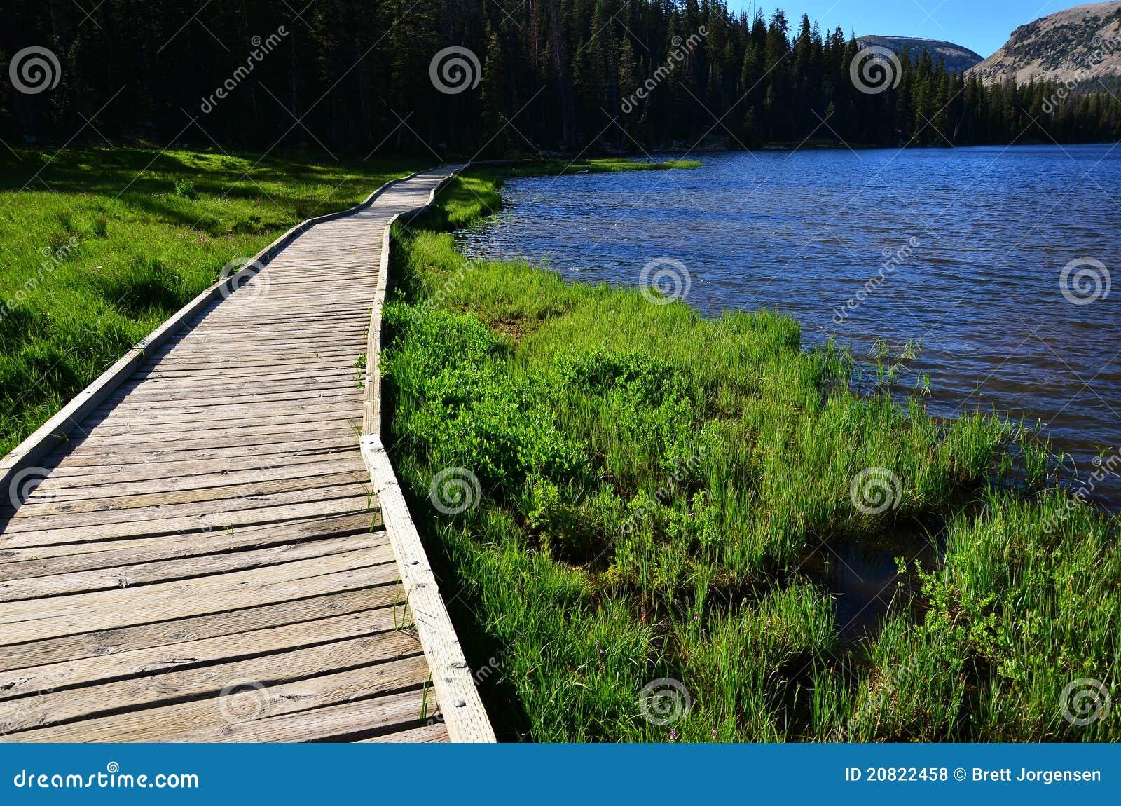 Un percorso ambulante lungo un lago