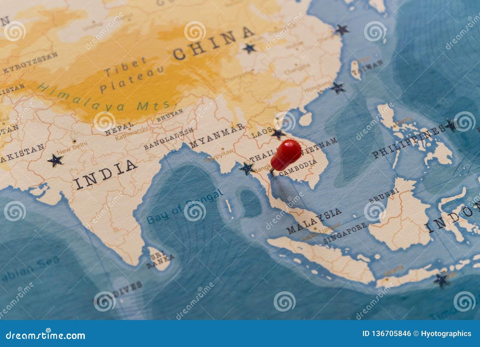 Un perno en Bangkok, Tailandia en el mapa del mundo