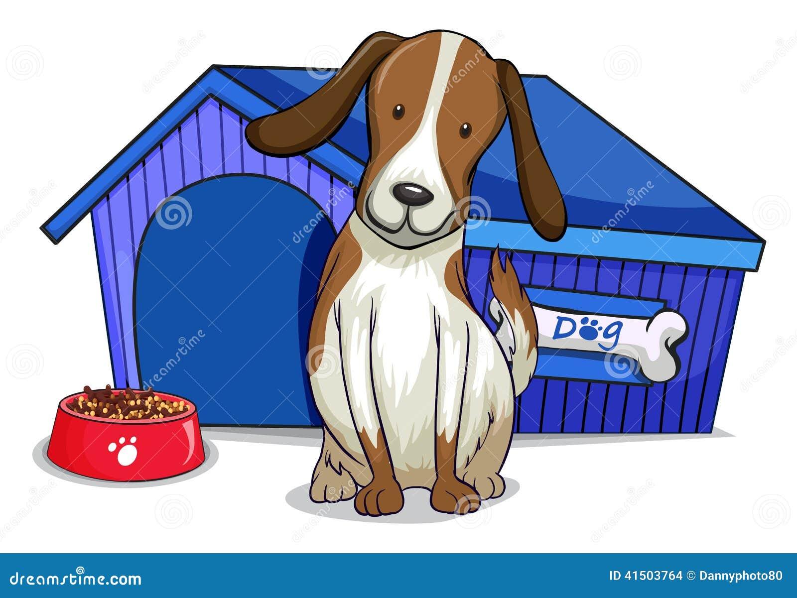 Un perro fuera de la casa azul ilustraci n del vector for Fuera de vacaciones