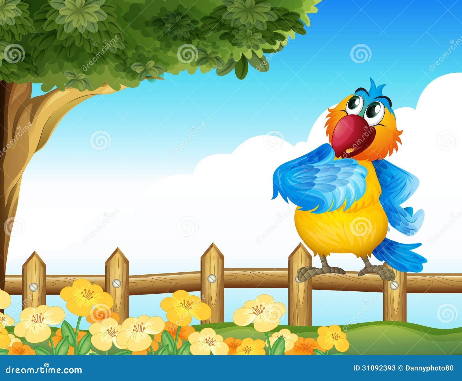 Un perroquet coloré à l arrière-cour