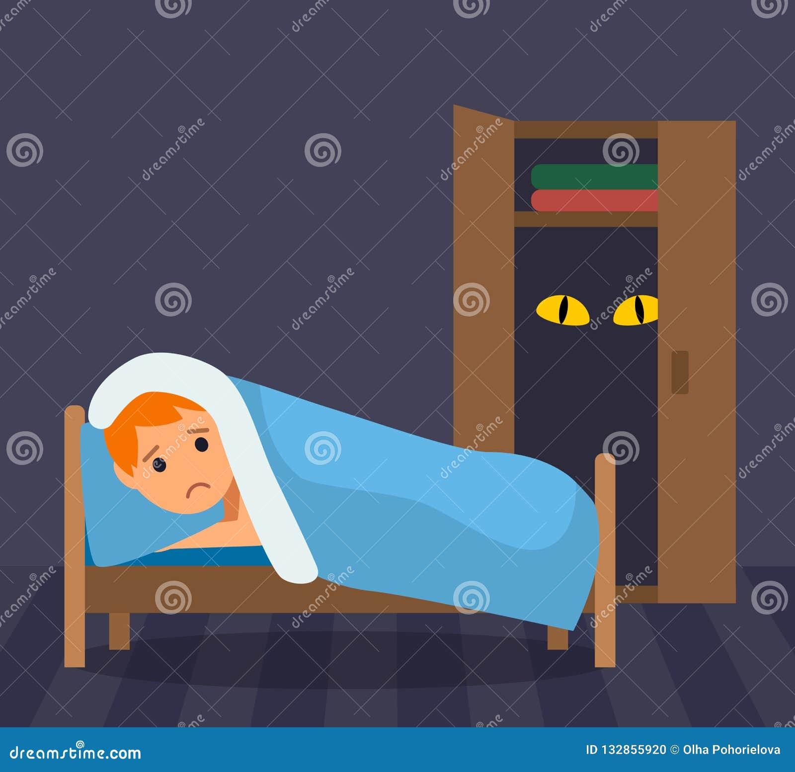Un petit garçon ne peut pas dormir - très effrayé du monstre dans le cabinet Craintes d enfance illustration plate dans un style