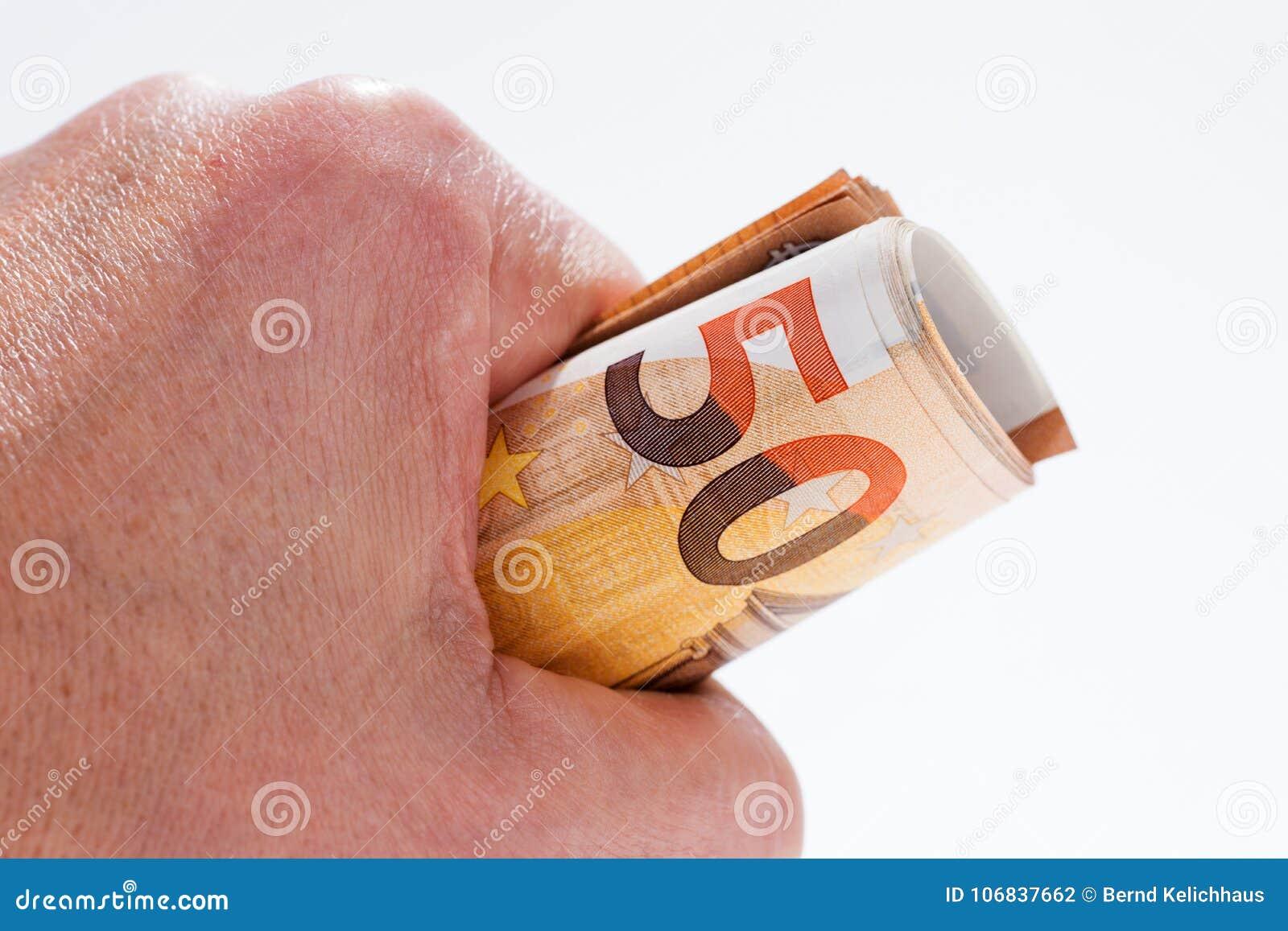 Un Petit Pain Avec Cinquante Euro Billets De Banque Dans La Main ... 9ee1cf99b2d0