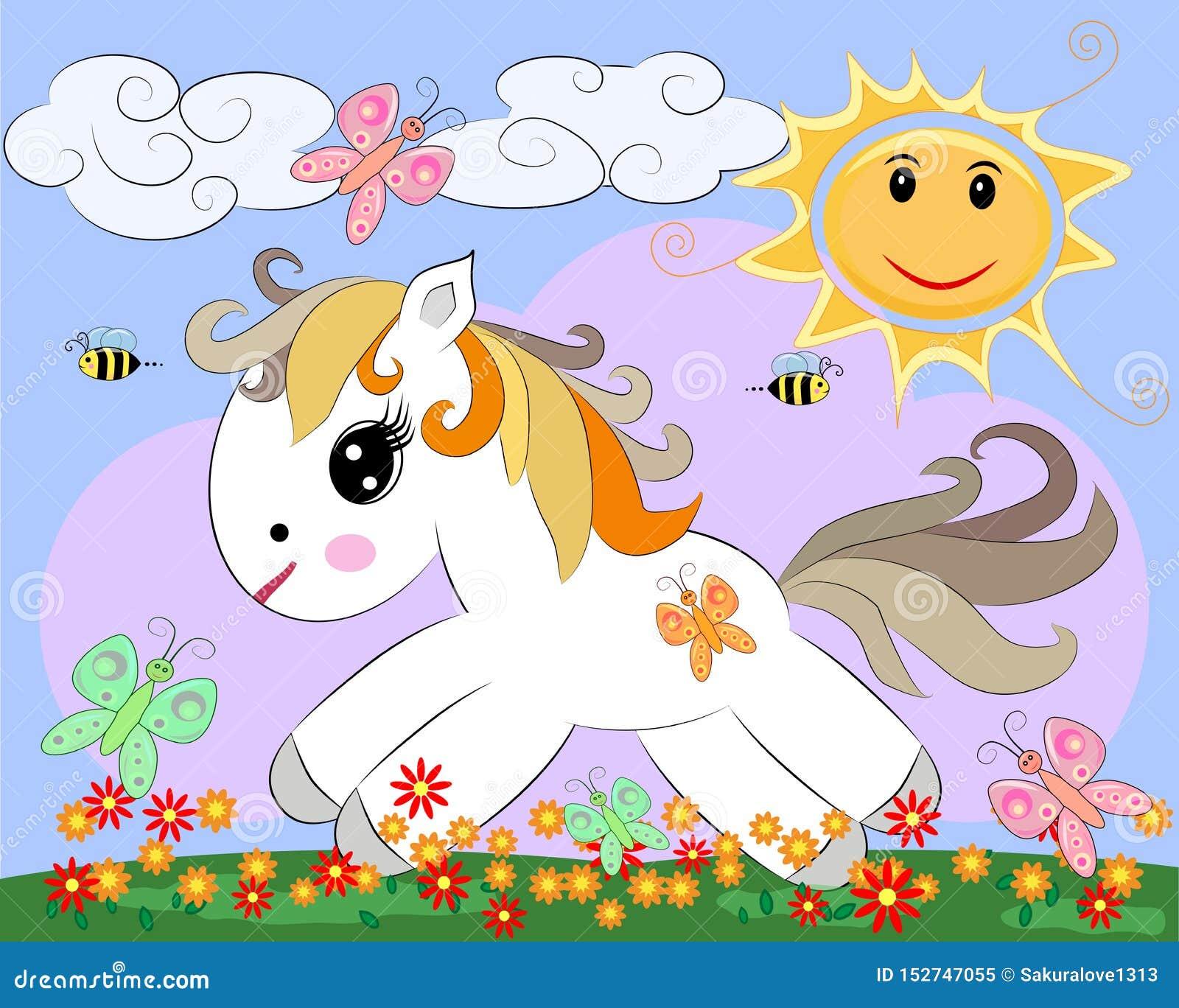 Un petit poney blanc de bande dessinée sur une clairière avec un arc-en-ciel, fleurs, le soleil
