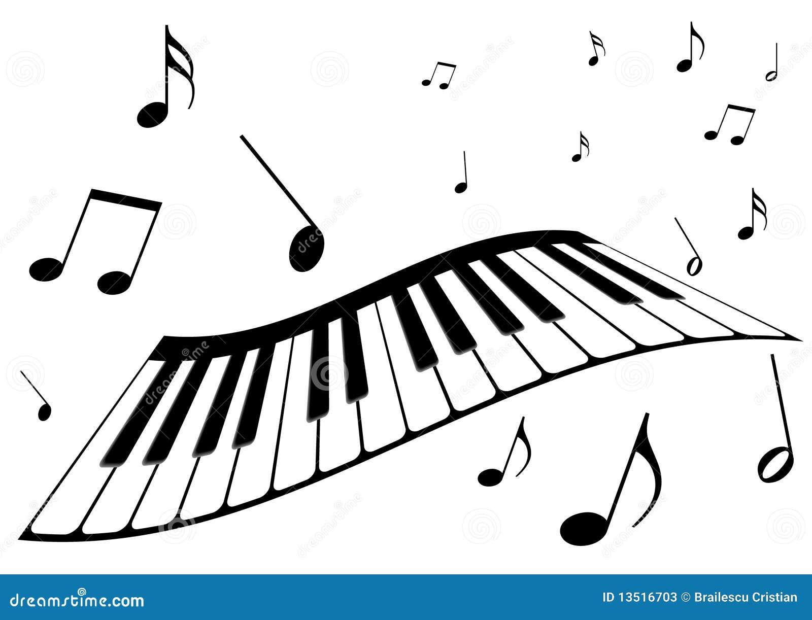 Un piano y notas de la música