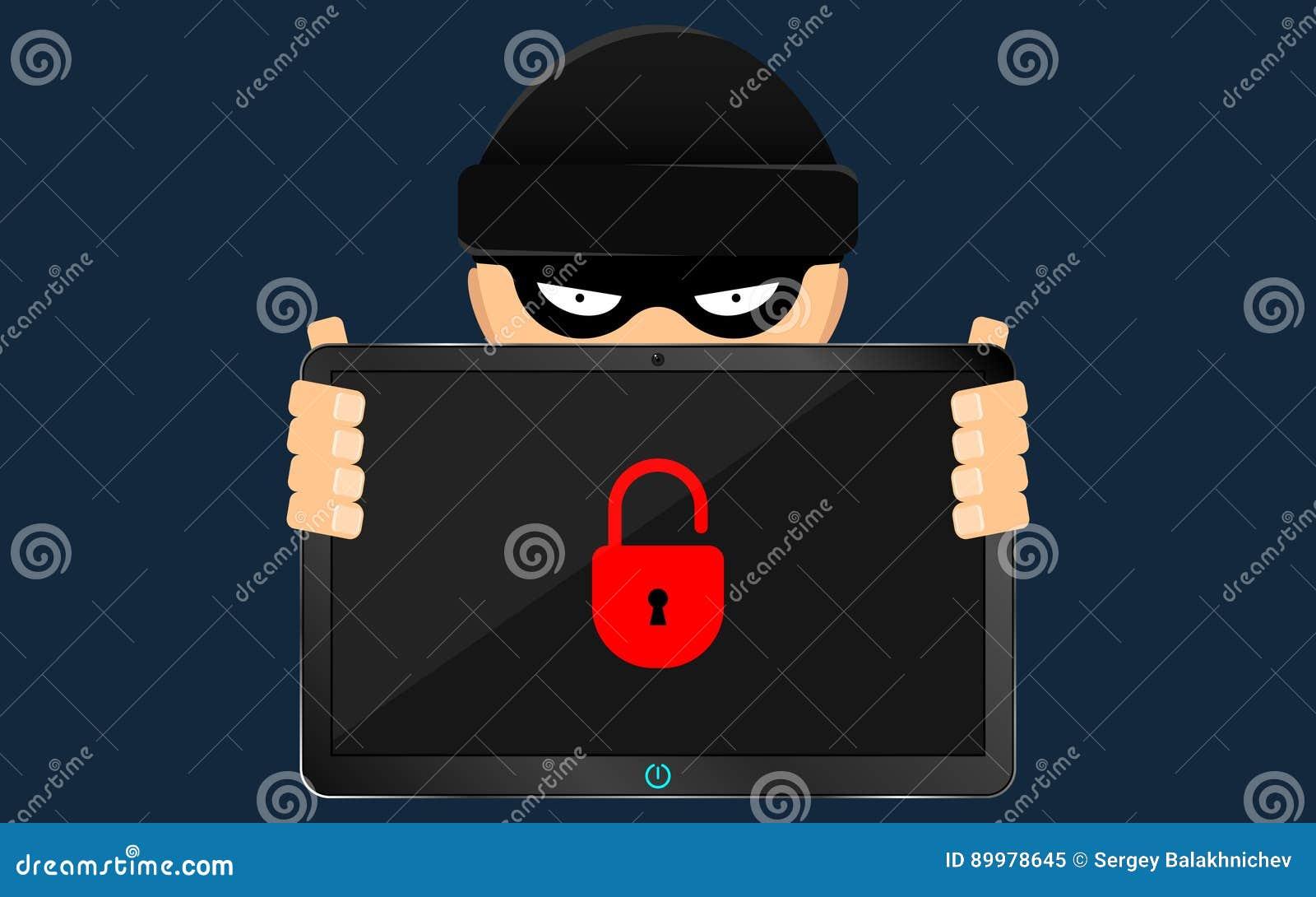 Un pirata informático y un bribón están sosteniendo una tableta quebrada en sus manos Un problema grave, la pérdida de datos Esti