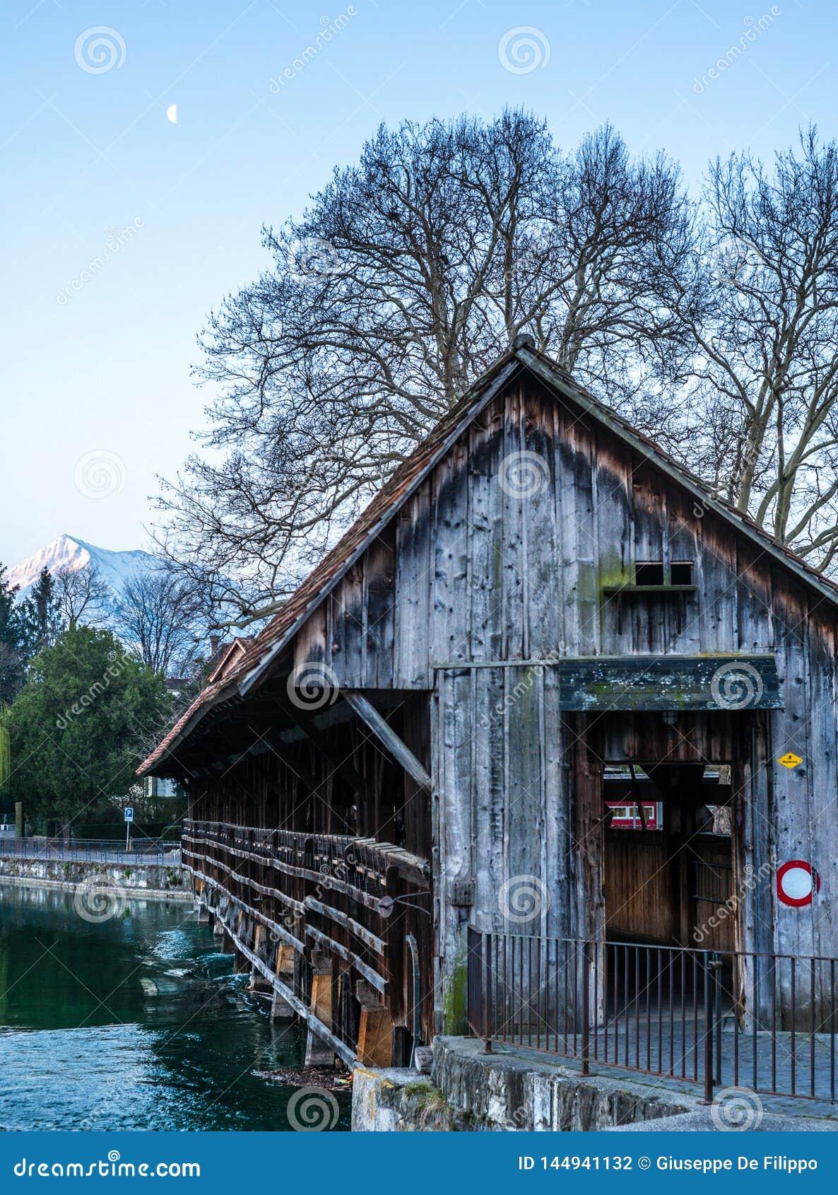 Un pont en bois traversant la rivière Aare dans Thun avec les montagnes de Jungfrau et d Eiger à l arrière-plan tôt le matin
