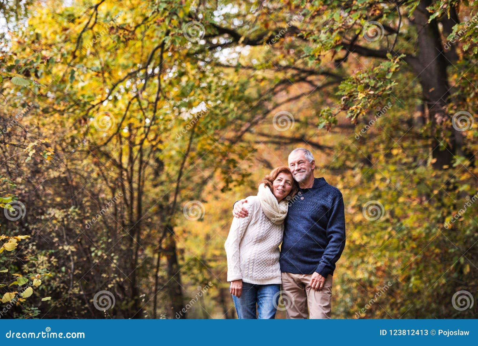 Un portrait d un couple supérieur se tenant dans une nature d automne Copiez l espace
