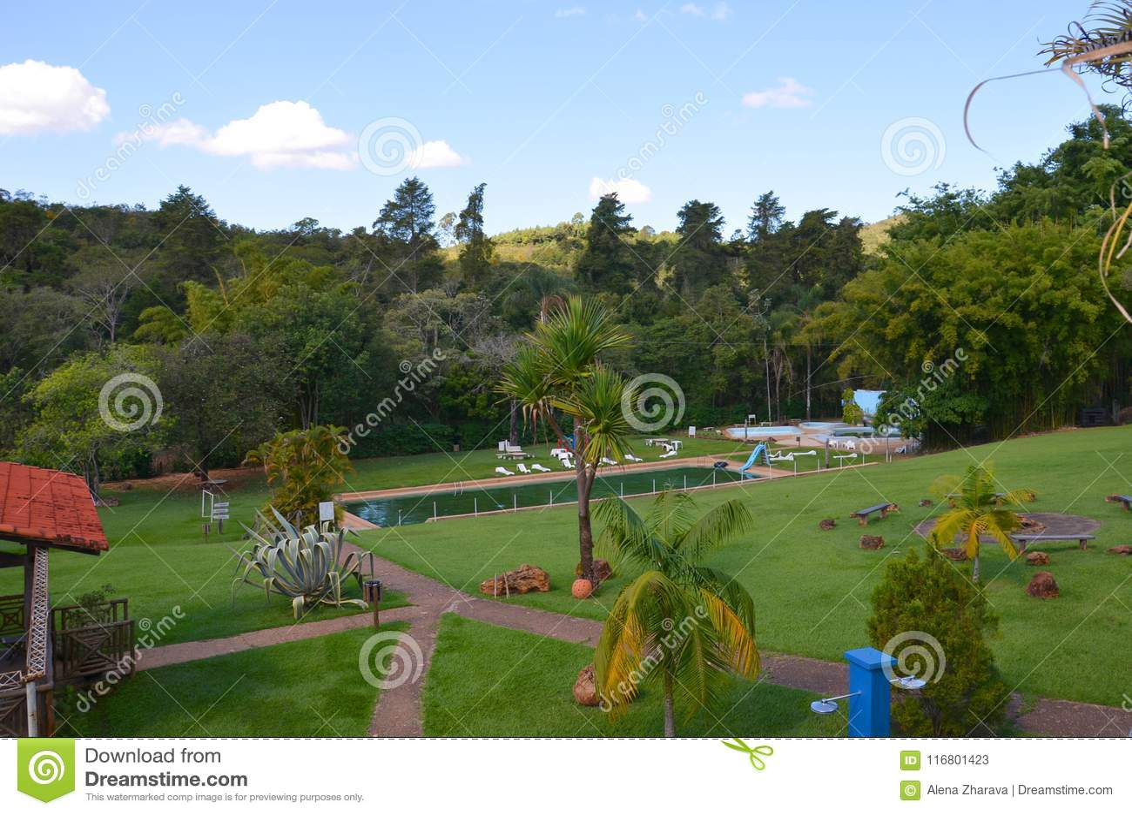 Un posto per la hacienda locale di rilassamento, accanto alla città Ribeirao Preto, regione Minas Gerais