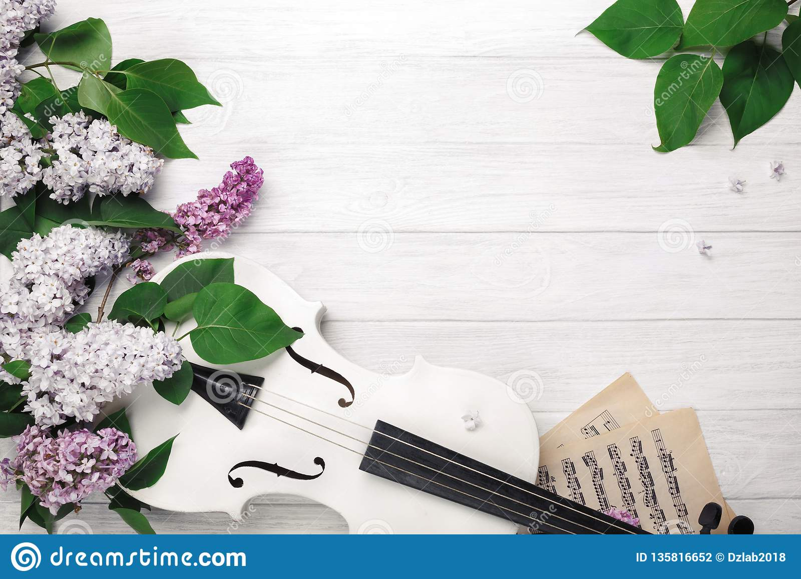 Un ramo de lilas con el violín y la hoja de música en una tabla de madera blanca Wiev superior con el espacio para su texto