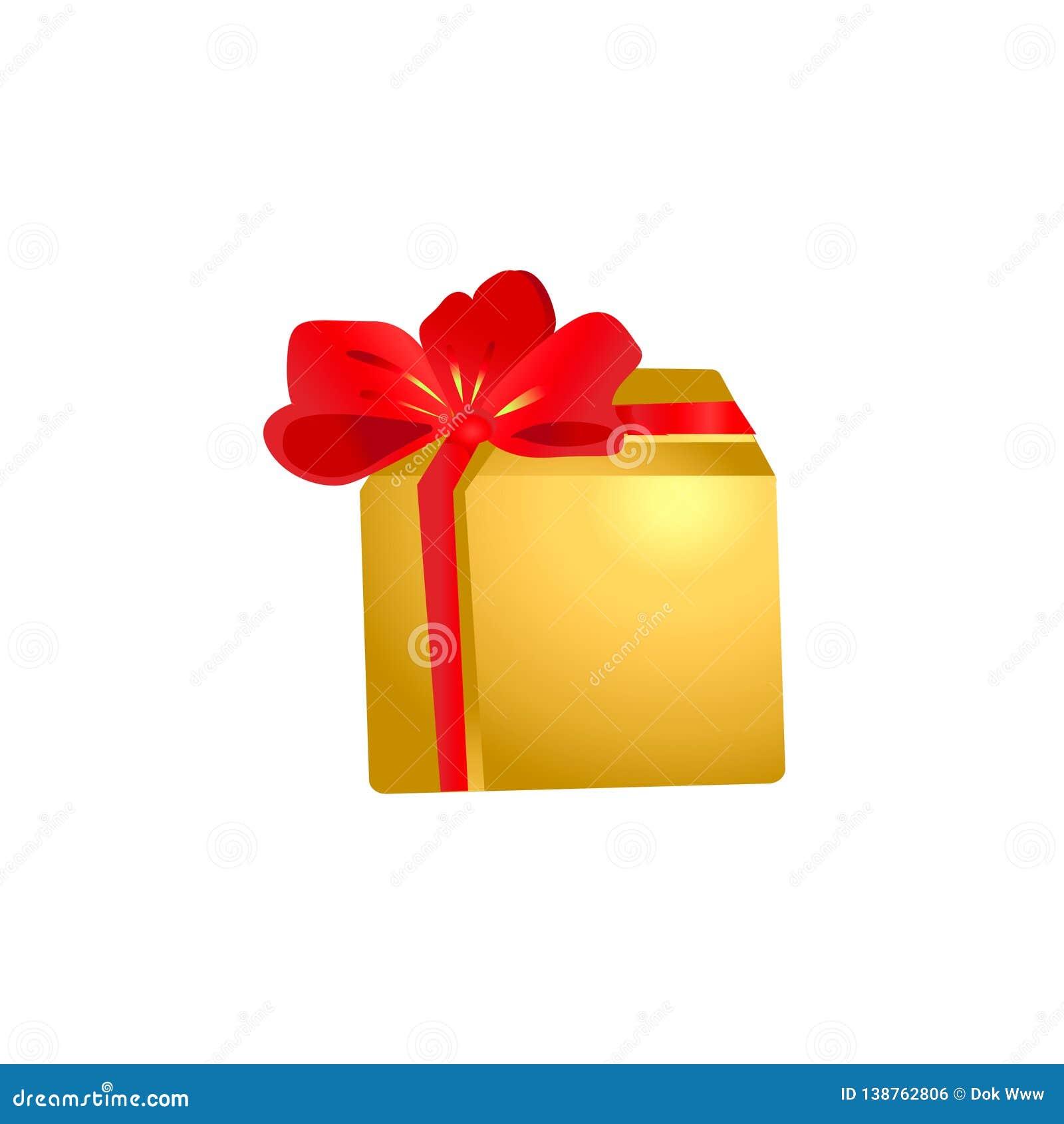 Un regalo en una caja del oro con un arco grande rojo