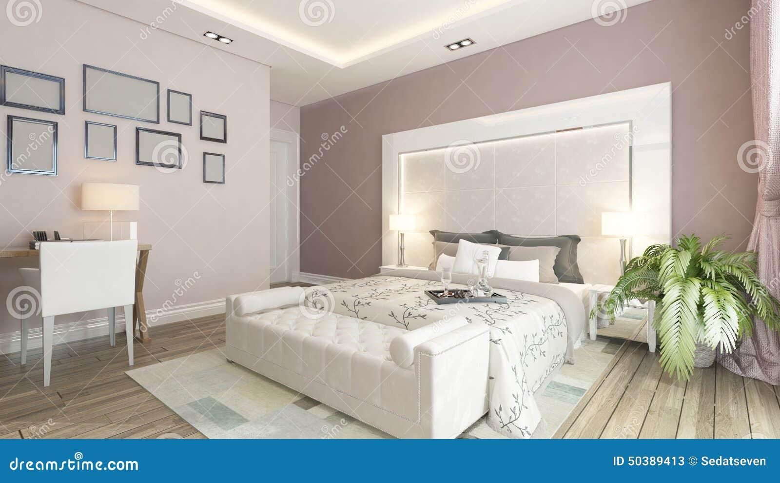 un rendu 3d de chambre coucher moderne avec le mur rose illustration stock image 50389413. Black Bedroom Furniture Sets. Home Design Ideas
