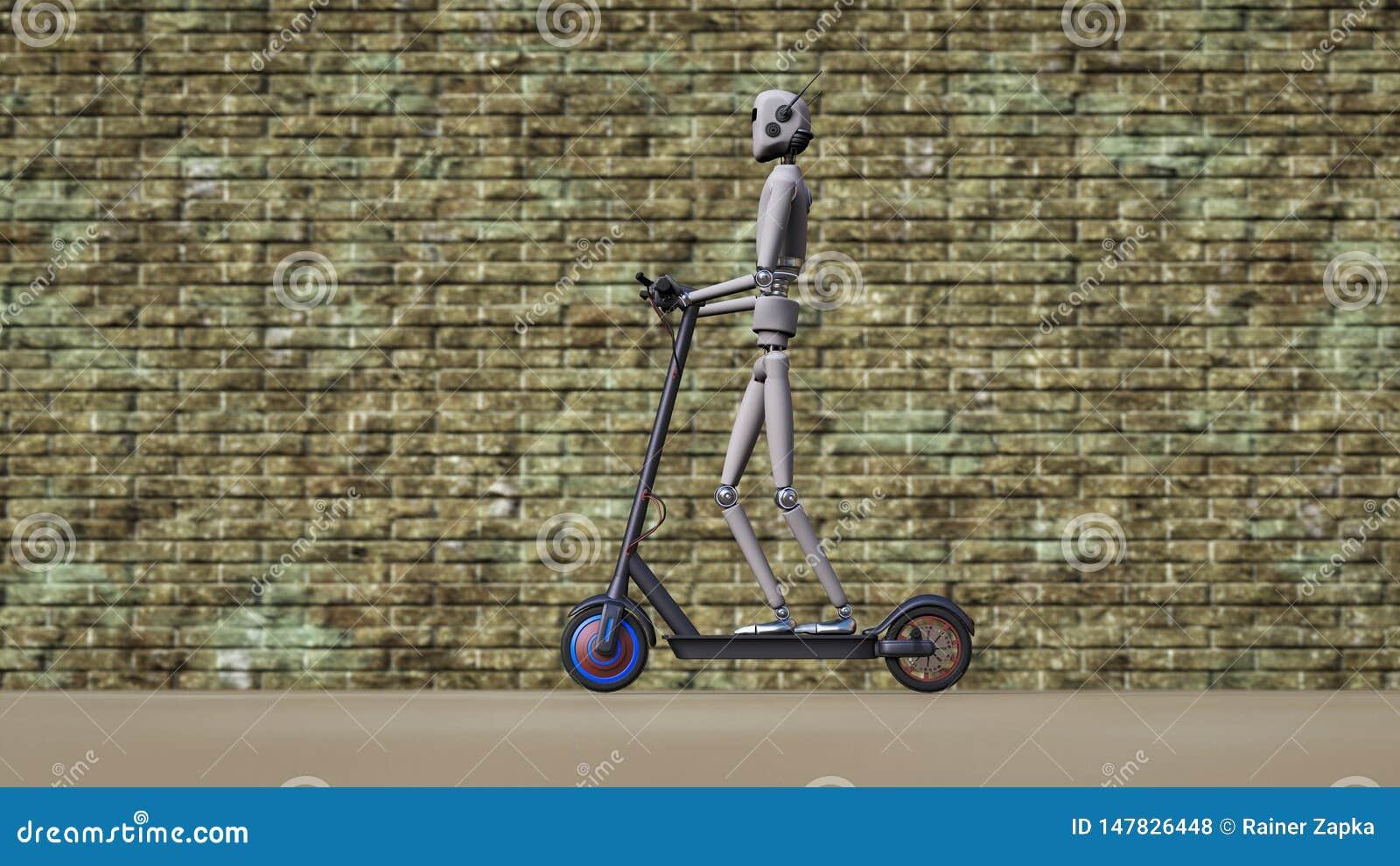 Un robot conduce en la acera con una vespa eléctrica