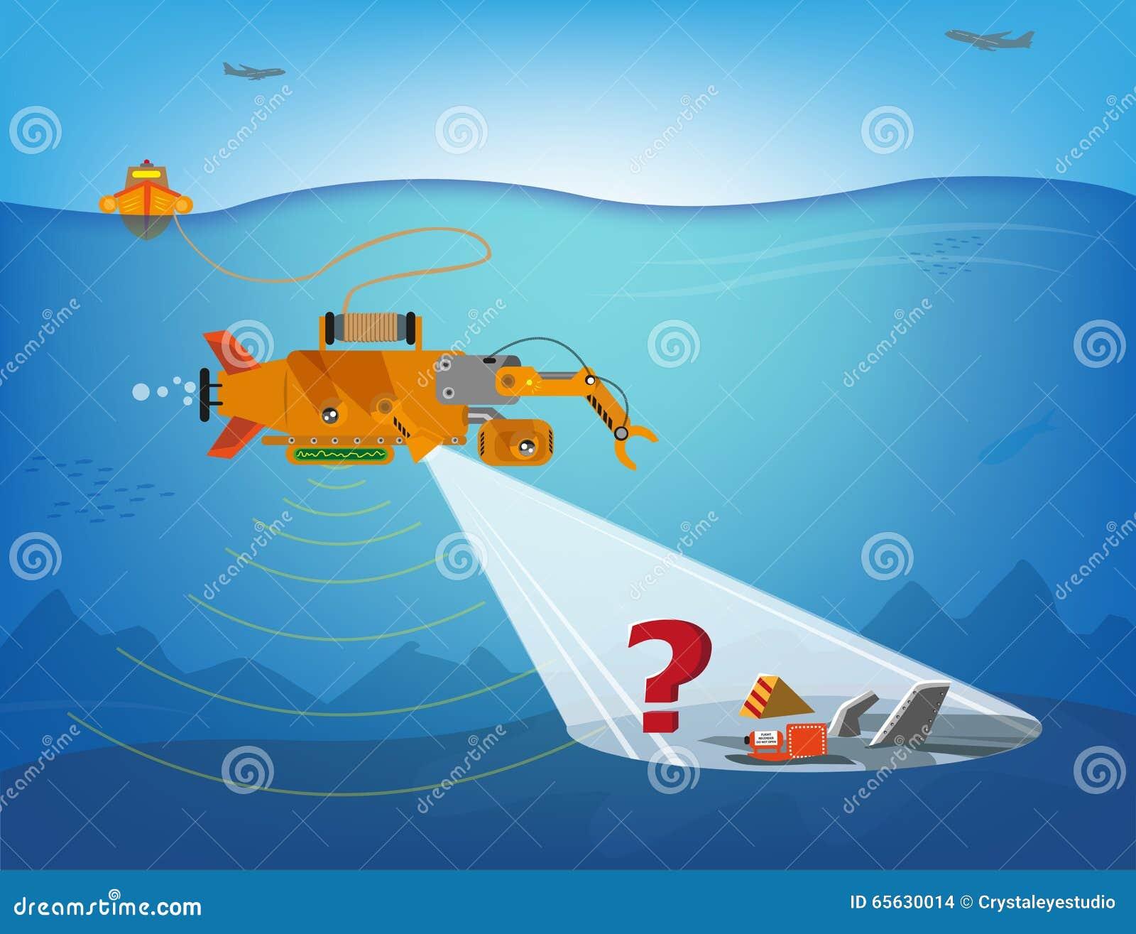 Un robot télécommandé recherchant sous l eau des débris des avions, des bateaux ou de plus Clipart (images graphiques) Editable