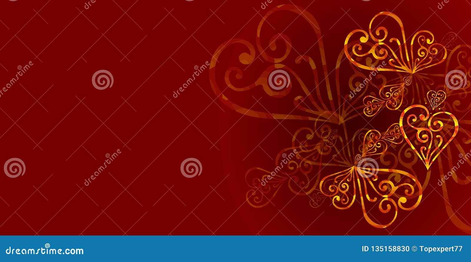 Un rojo, fondo floral del color de Borgoña con el ornamento del oro Un fondo real del color de Borgoña con los corazones del oro