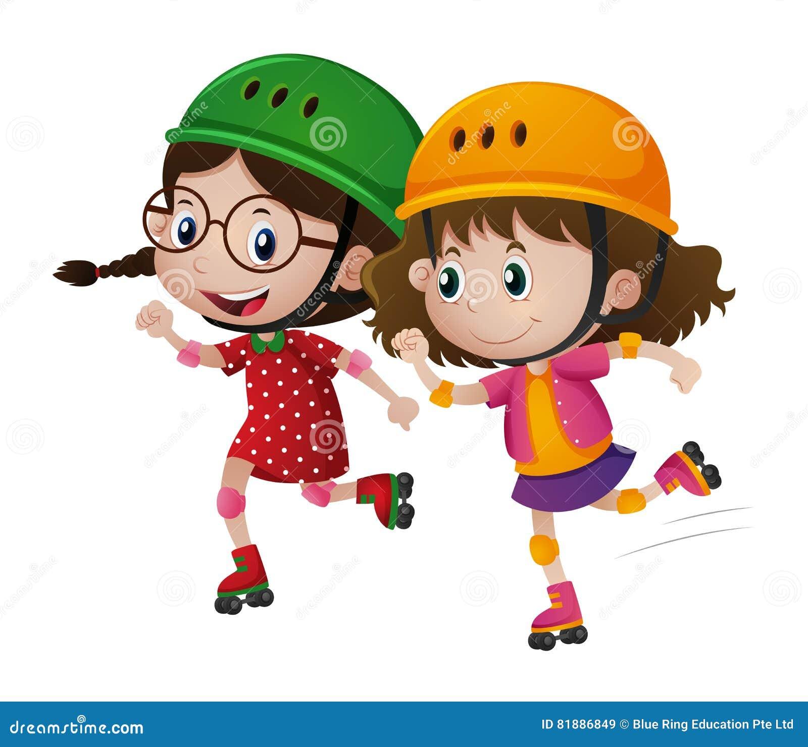 Un rollerskate di due ragazze insieme