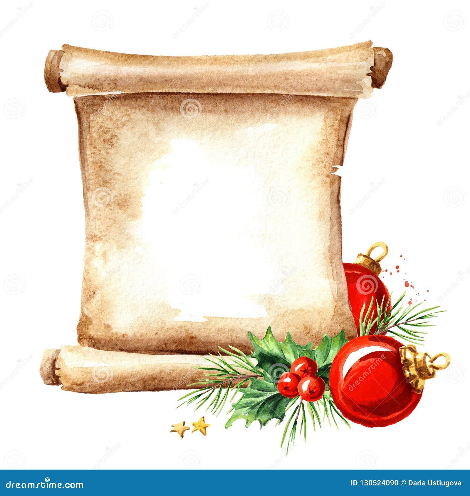 Un rouleau de vieux papier avec des éléments de Noël Calibre de carte de nouvelle année Illustration tirée par la main d aquarell
