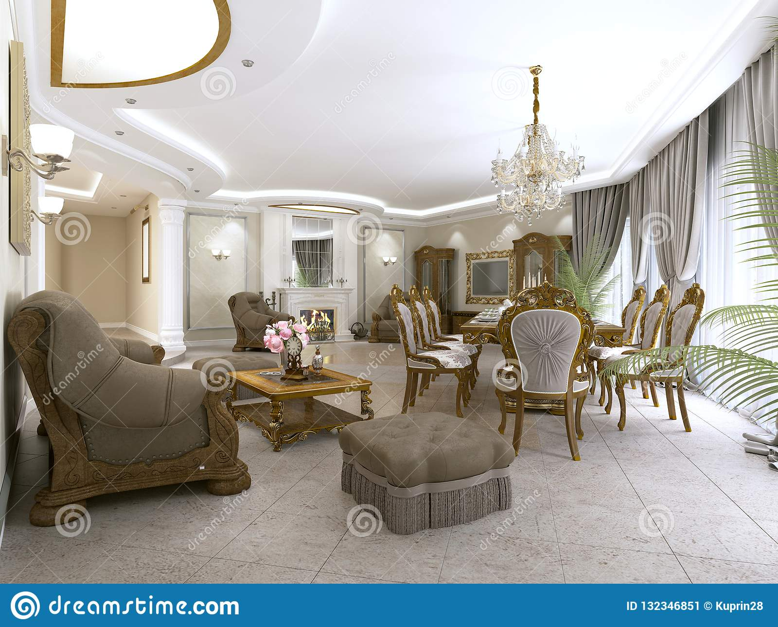 Un Salon Classique Moderne Dans Un Style D\'art Déco Avec Une Table ...