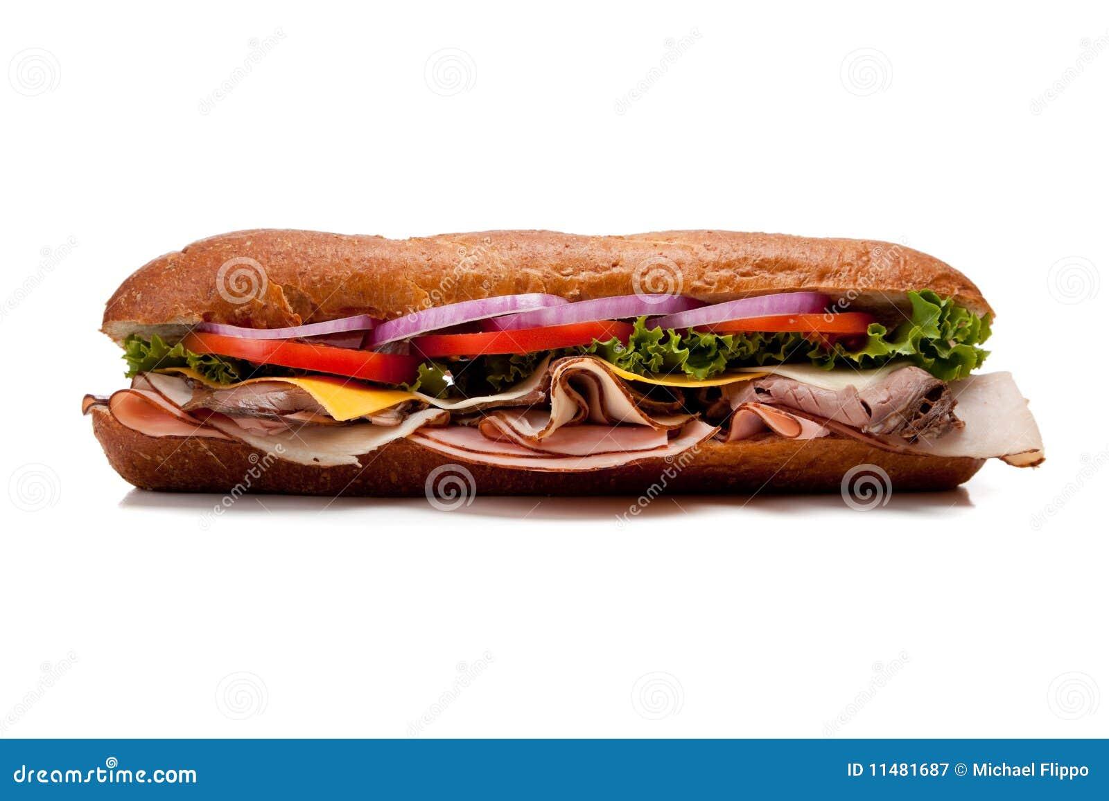 Un sandwich secondaire sur un fond blanc
