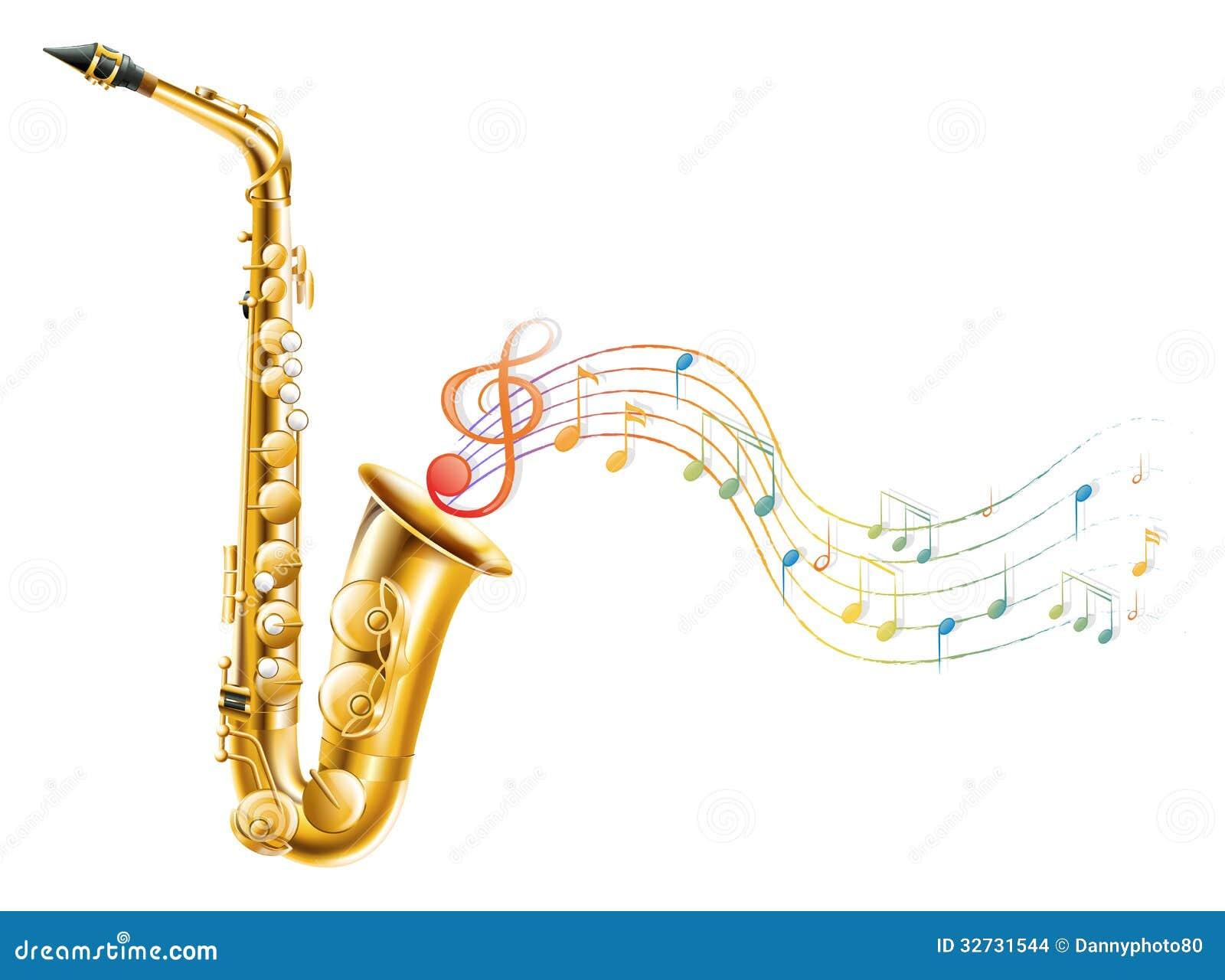 un saxophone d 39 or avec les notes musicales illustration de. Black Bedroom Furniture Sets. Home Design Ideas