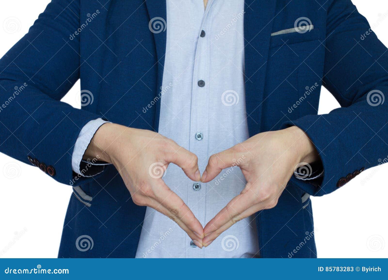 Un segno di amore di manifestazione dell uomo d affari