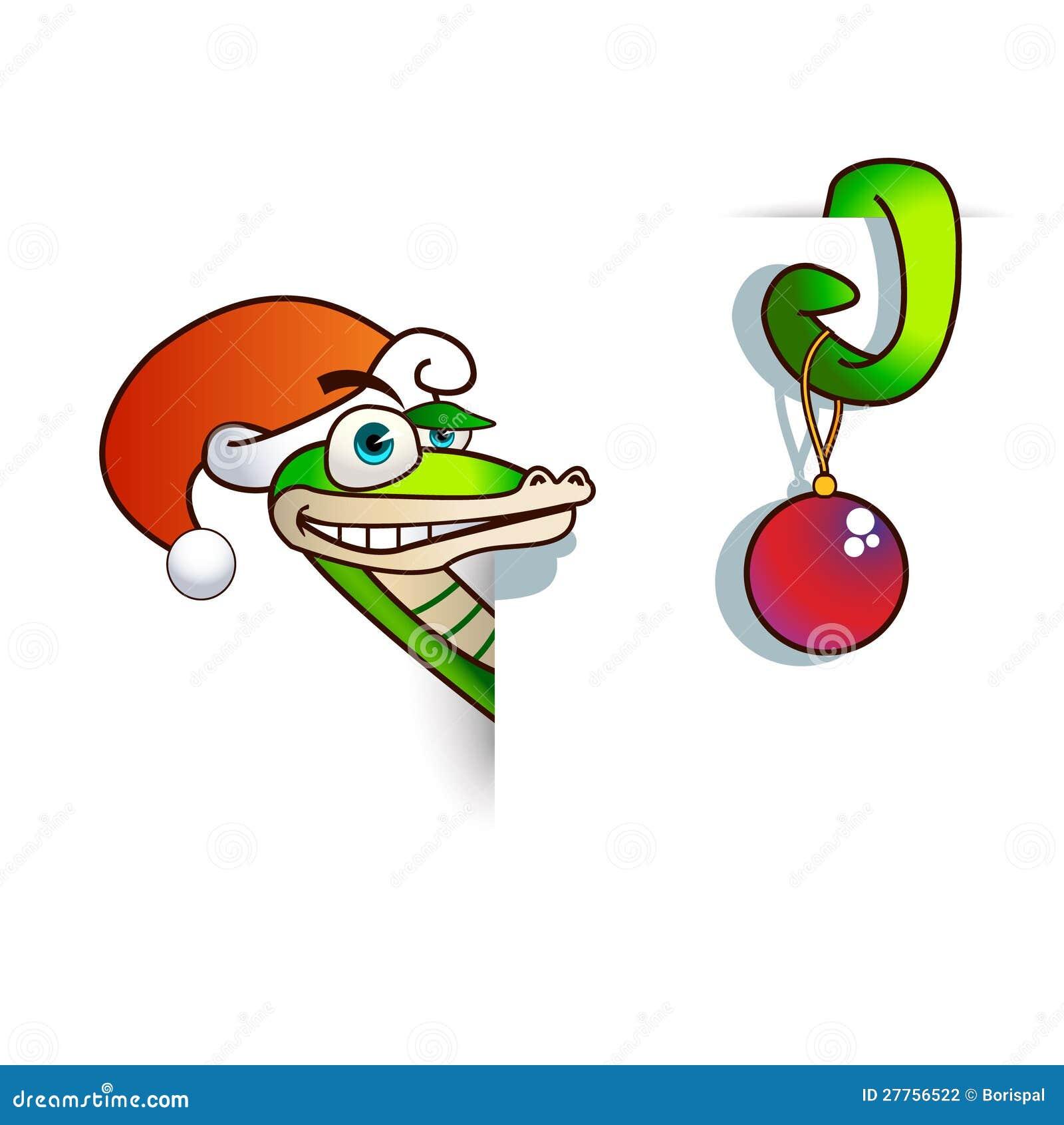 Un serpent de Noël est marqueté dans une feuille.