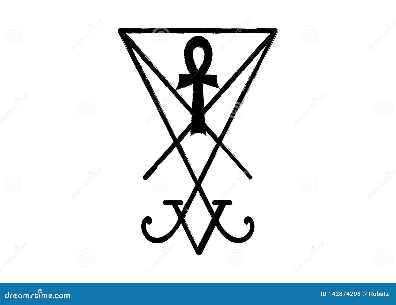 Un sigil de Lucifer El Grunge diseñó la demonología apenada y la cruz egipcia del ankh El sigil de Lucifer aisló Diablo Lucifer d