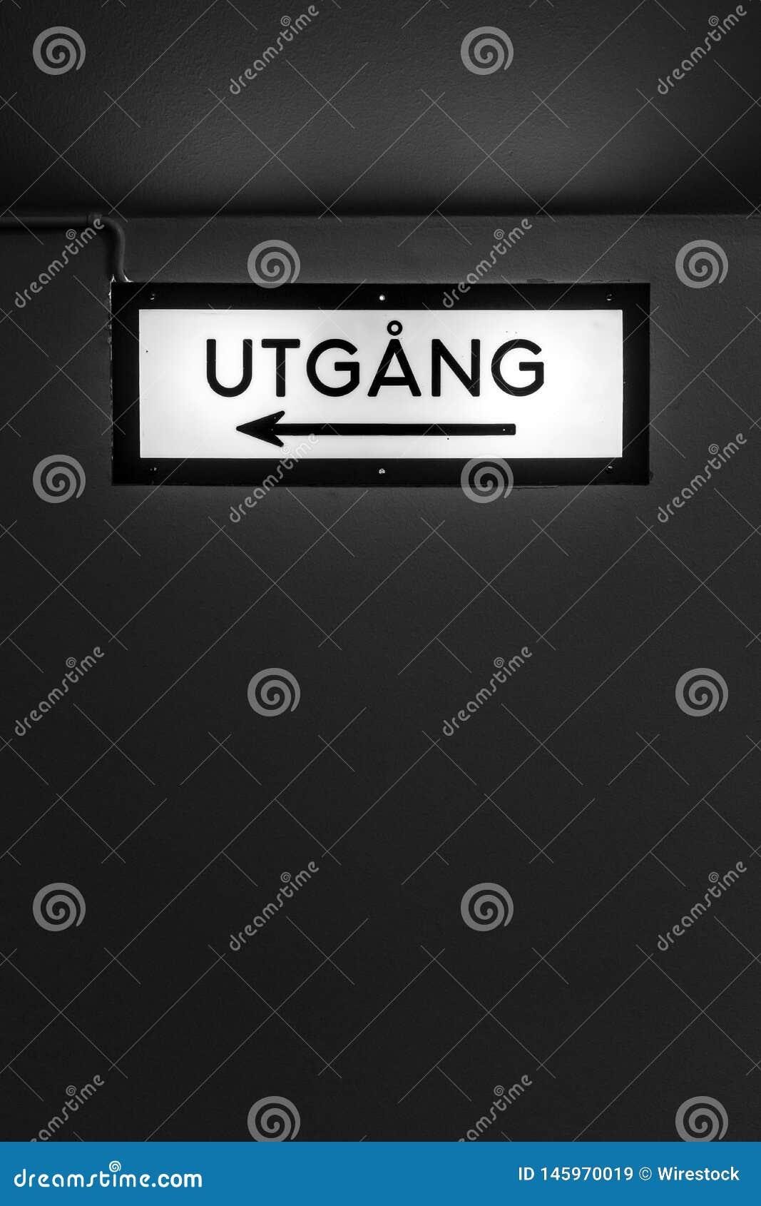 """Un signe - """"UTGANG """""""