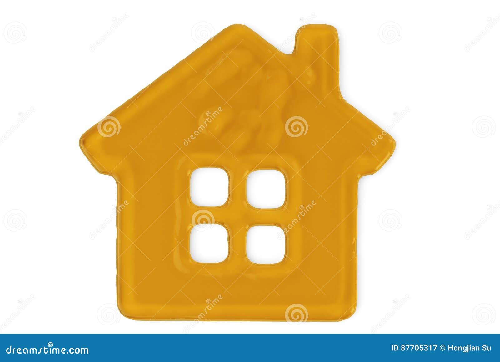 Un signe de symbole de maison de miel illustration 3D
