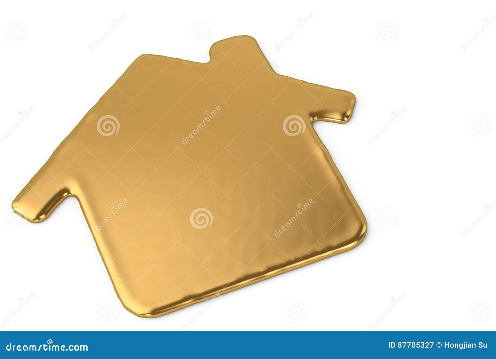 Un signe liquide de symbole de maison en métal d or illustration 3D