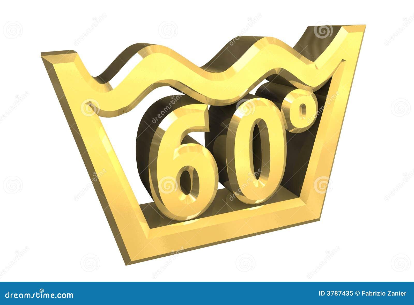 Un Simbolo Di Lavaggio Di 60 Gradi In Oro Ha Isolato 3d