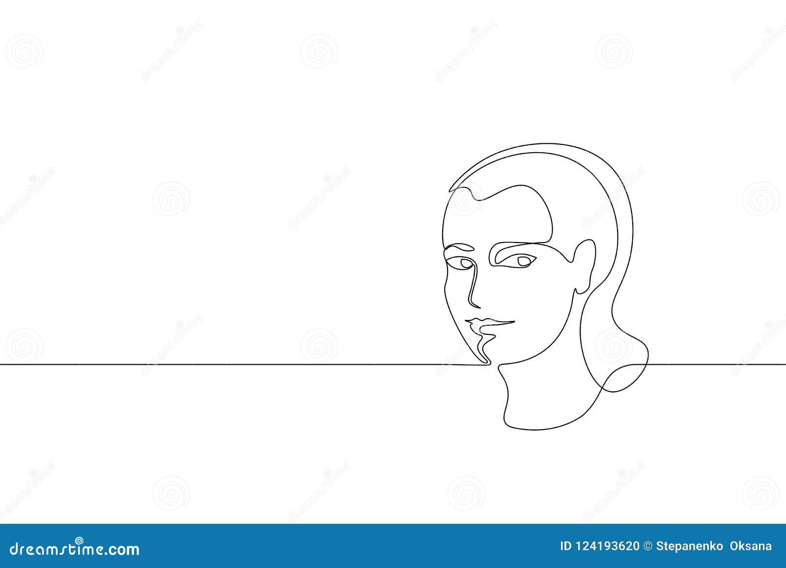Un simple continu concept de visage de fille de schéma Croquis tiré par la main de beaux de femme de portrait cheveux de mode Bea