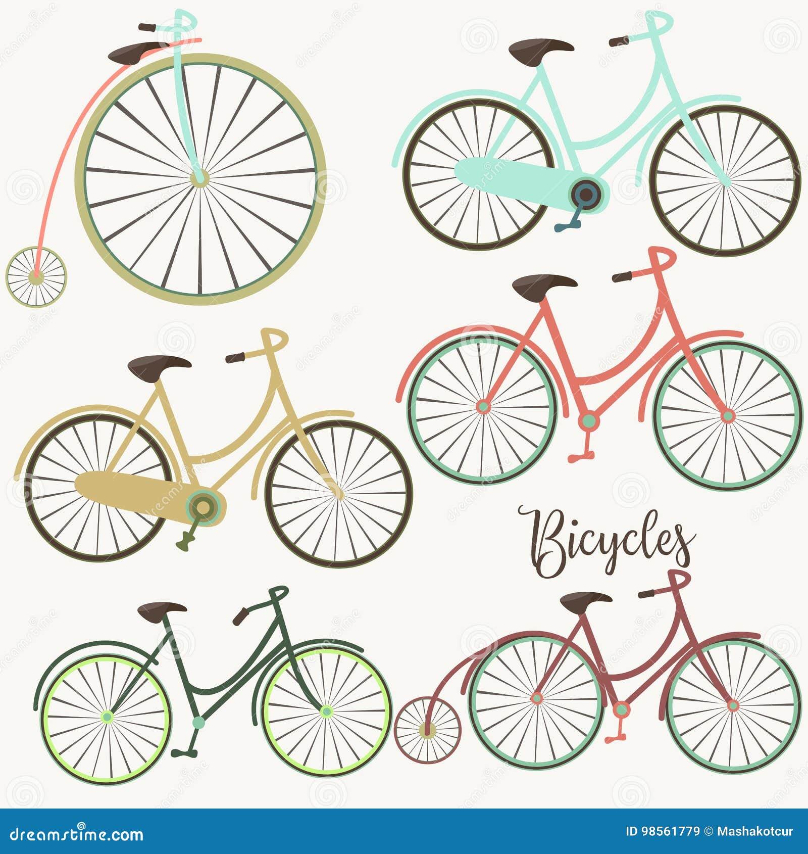 Un sistema de bicicletas lindas del vector