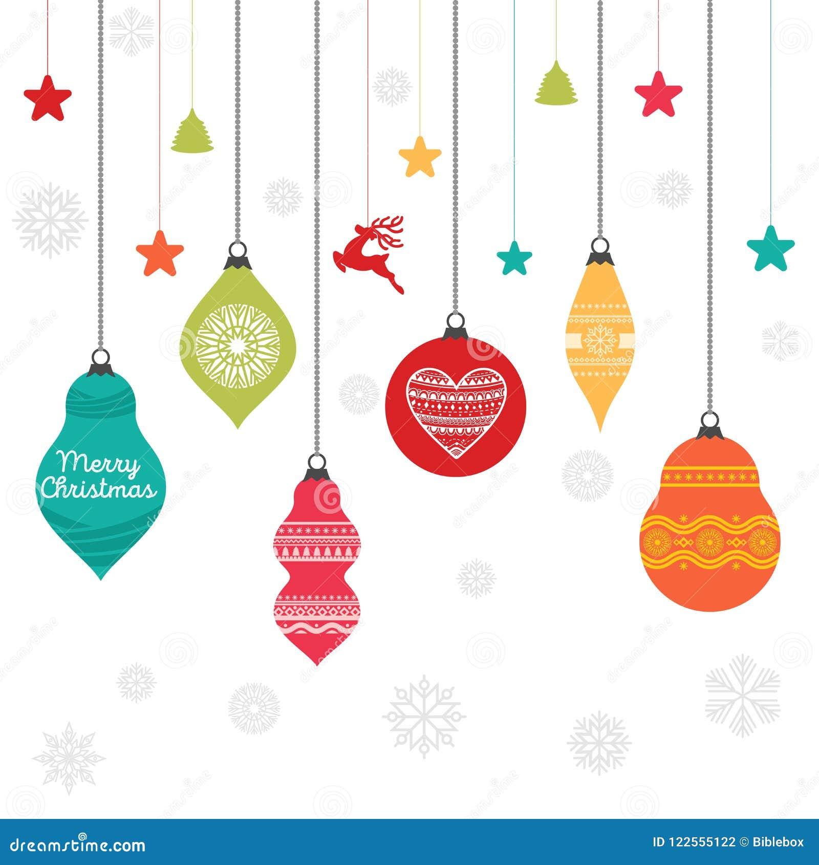 Un sistema de bolas de la Navidad con los ornamentos y los elementos decorativos del diseño