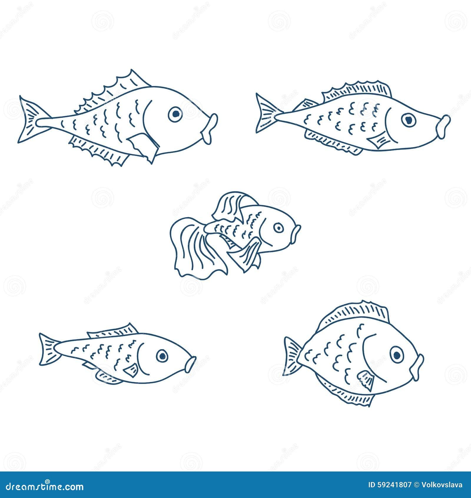 Download Un Sistema De Cinco Pescados Lindos Ilustración del Vector - Ilustración de figura, divertido: 59241807