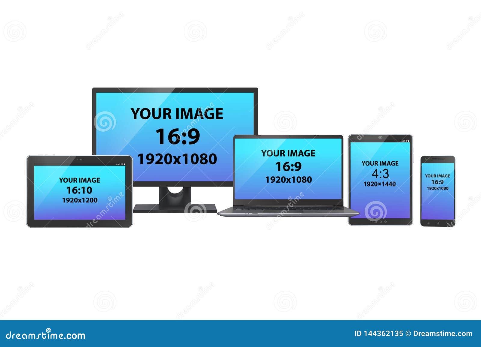 Un sistema de dispositivos electrónicos: Monitor, tabletas, ordenador portátil y smartphone de la PC con diversos tamaño y relaci
