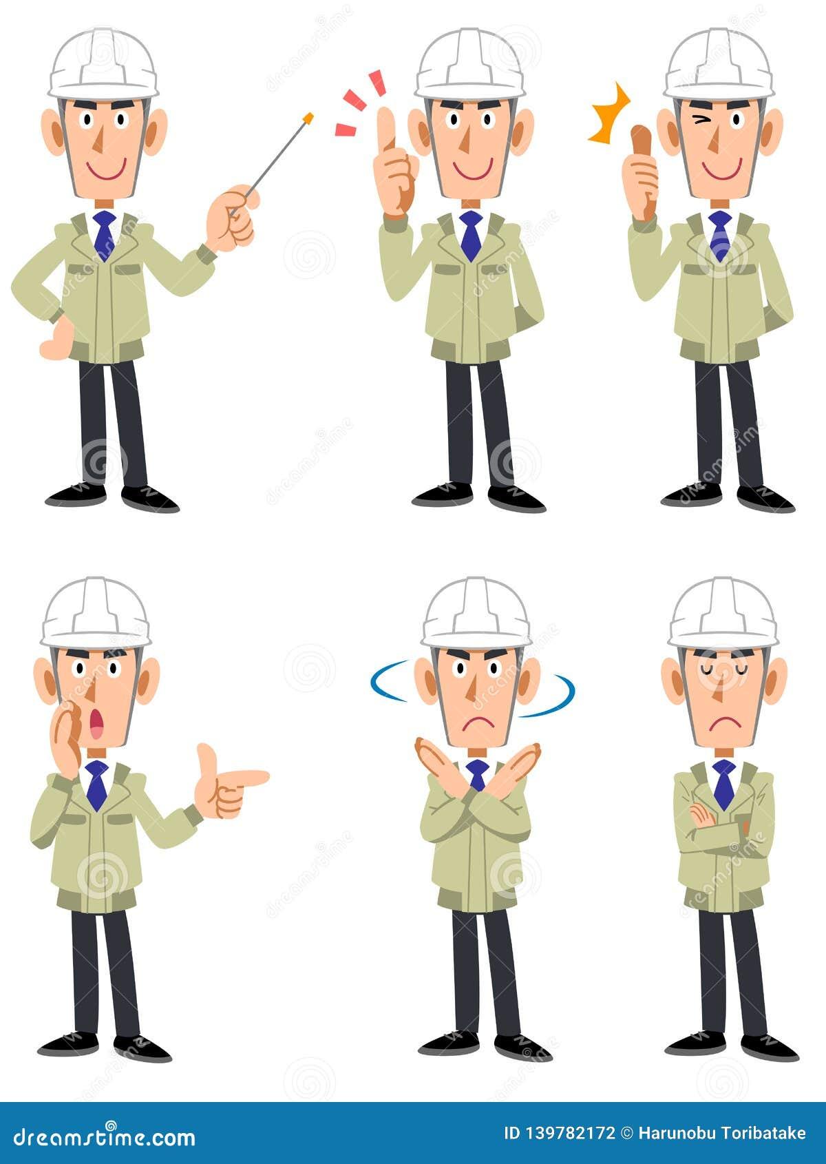 Un sistema de expresiones faciales y de gestos de seis tipos de varones en una tienda de la construcción que lleva un casco