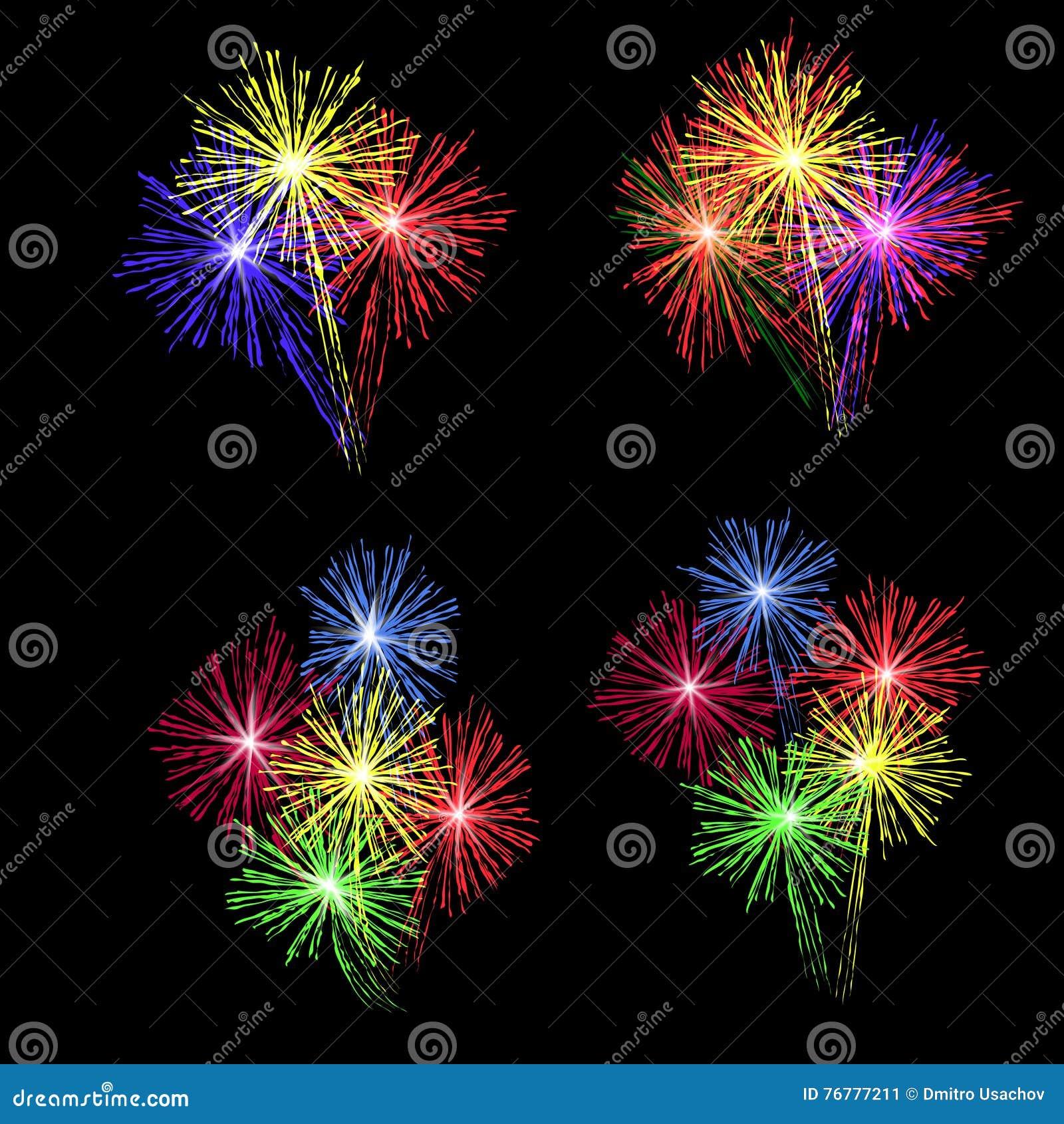 Un sistema de fuegos artificiales coloridos en honor del día de fiesta en un fondo negro Ilustración